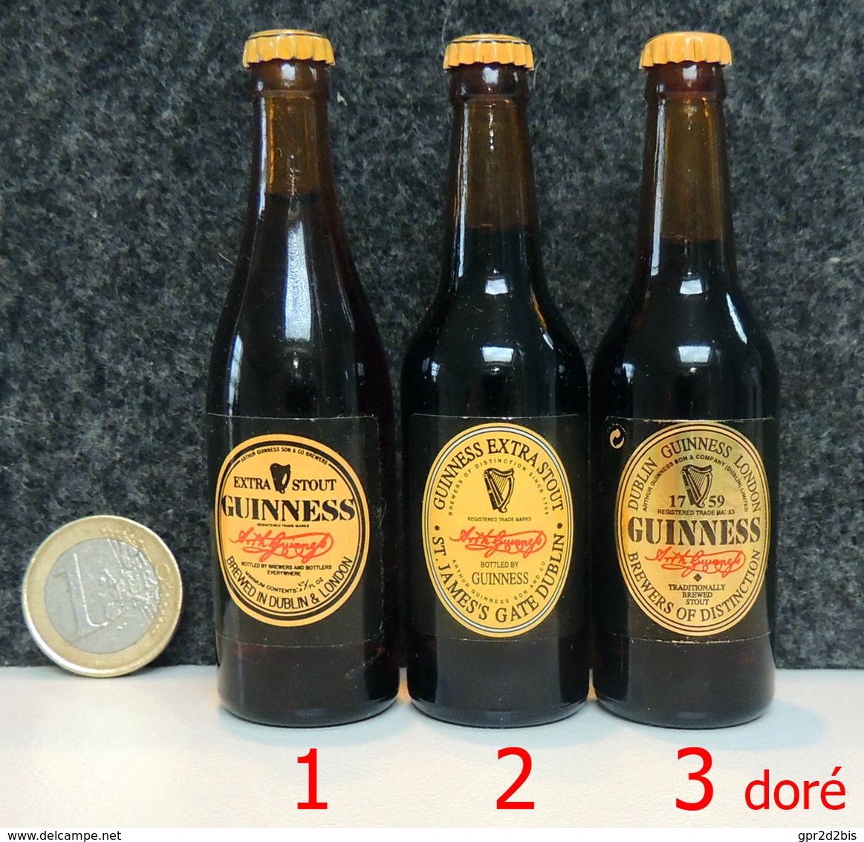 Mignonnette - IRLANDE Bière GUINNESS Bouteille Miniature 8.5cm (verre + Capsule) N°2 Sur La Photo Au Centre - Mignonnettes