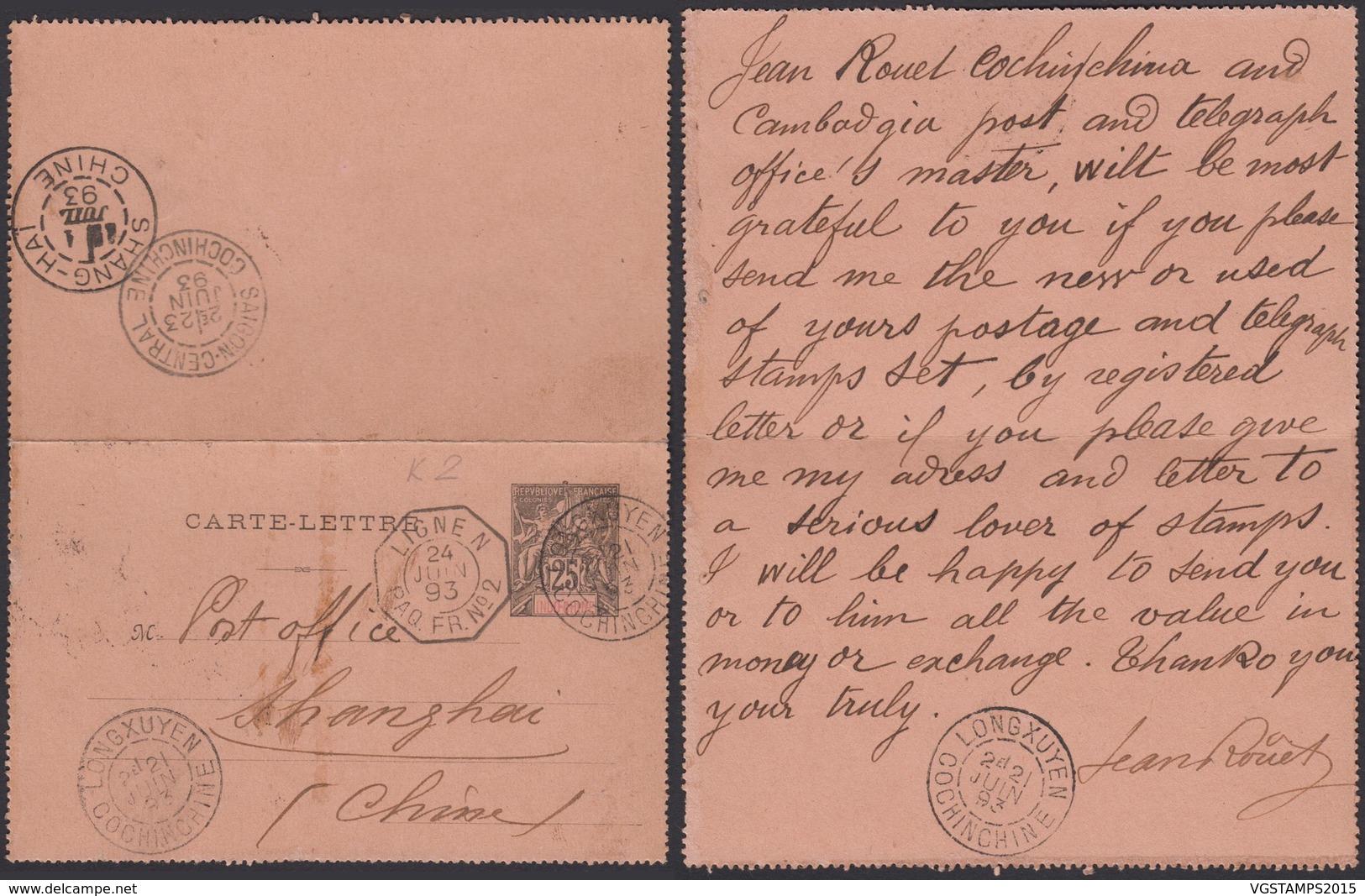 """Colonies Françaises - Indochine E.P. Carte Lettre N°2 Oblitération """" Long Xuyen Cochinchine Vers Chine (6G18538) DC 0820 - Covers & Documents"""