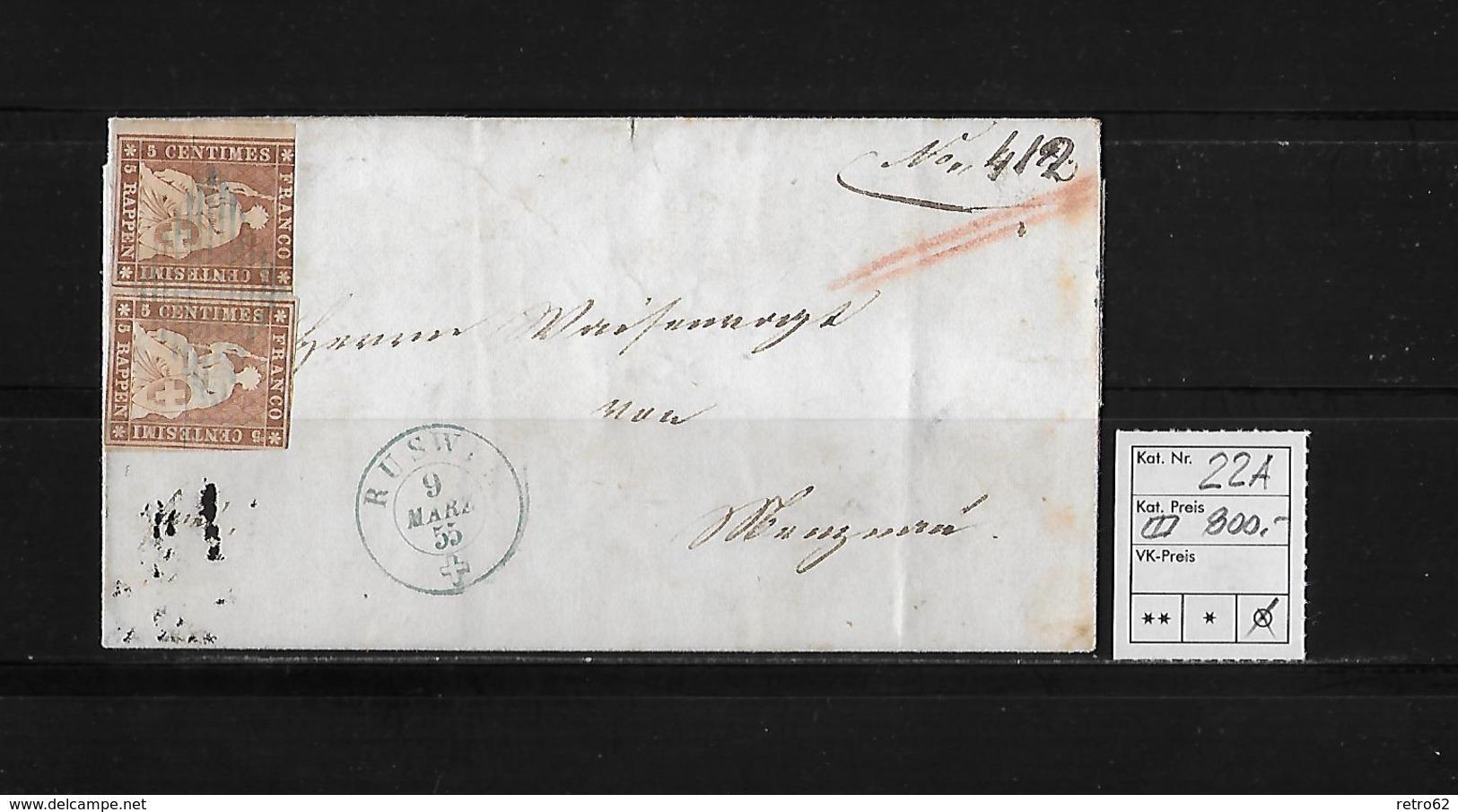 1854-1862 SITZENDE HELVETIA Ungezähnt (Strubel)  → SBK-22A / A3 Ruswil Nach Menznau - 1854-1862 Helvetia (Non-dentelés)