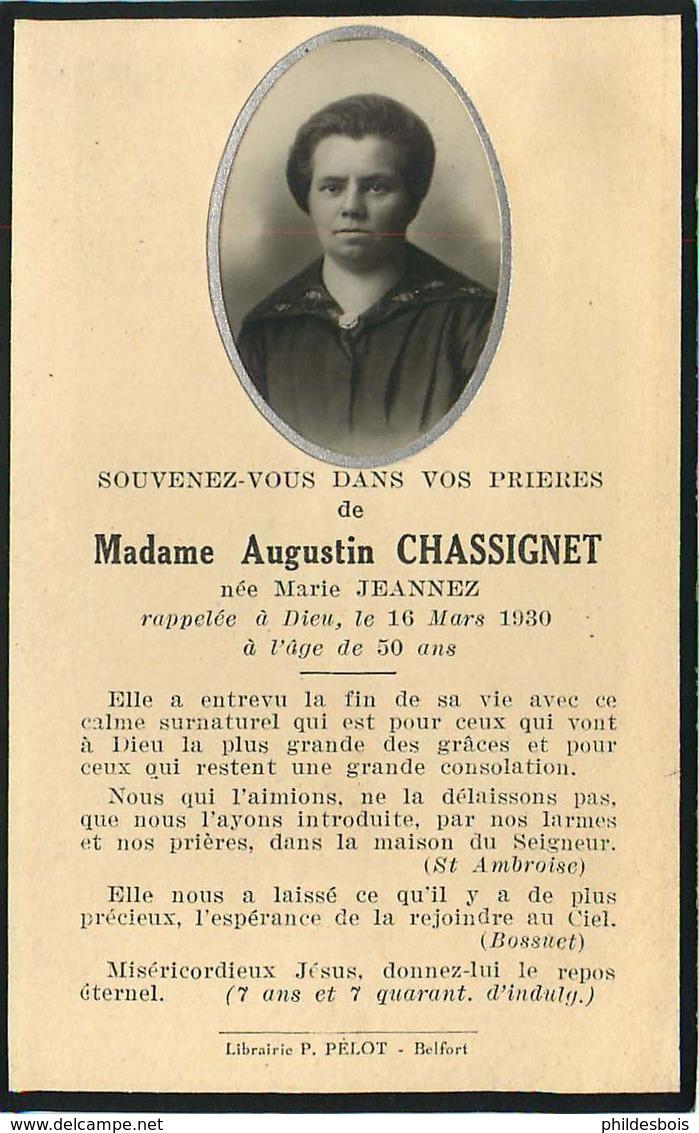 FAIRE PART ACTE DE DECES   Mme Augustin CHASSIGNET - Décès