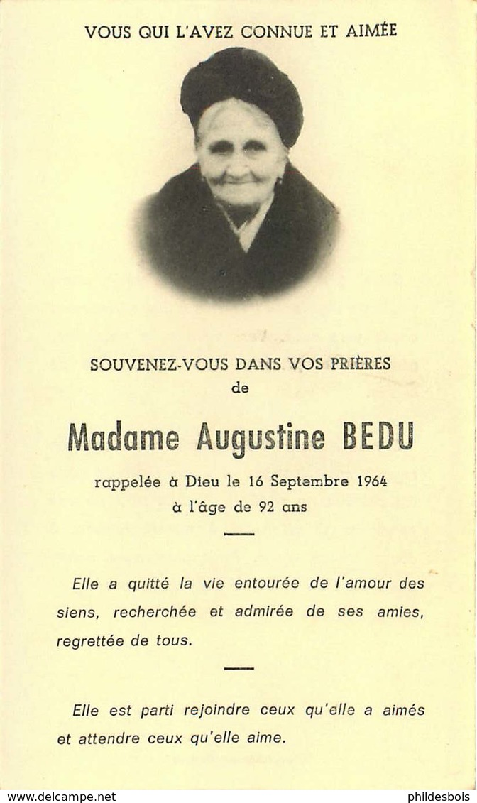 FAIRE PART ACTE DE DECES   Mme Augustine BEDU - Décès