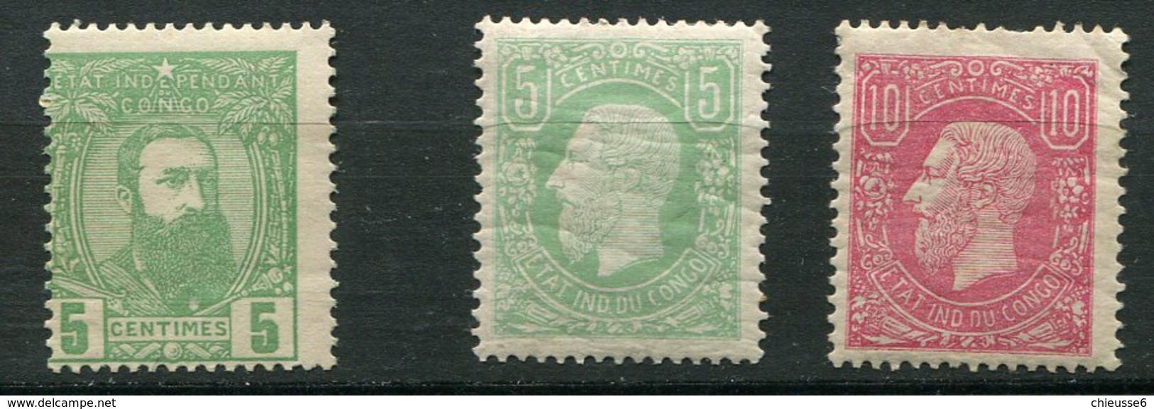 Congo Belge Ch  N° 1 - 2 - 6 - 1884-1894 Voorgangers & Leopold II