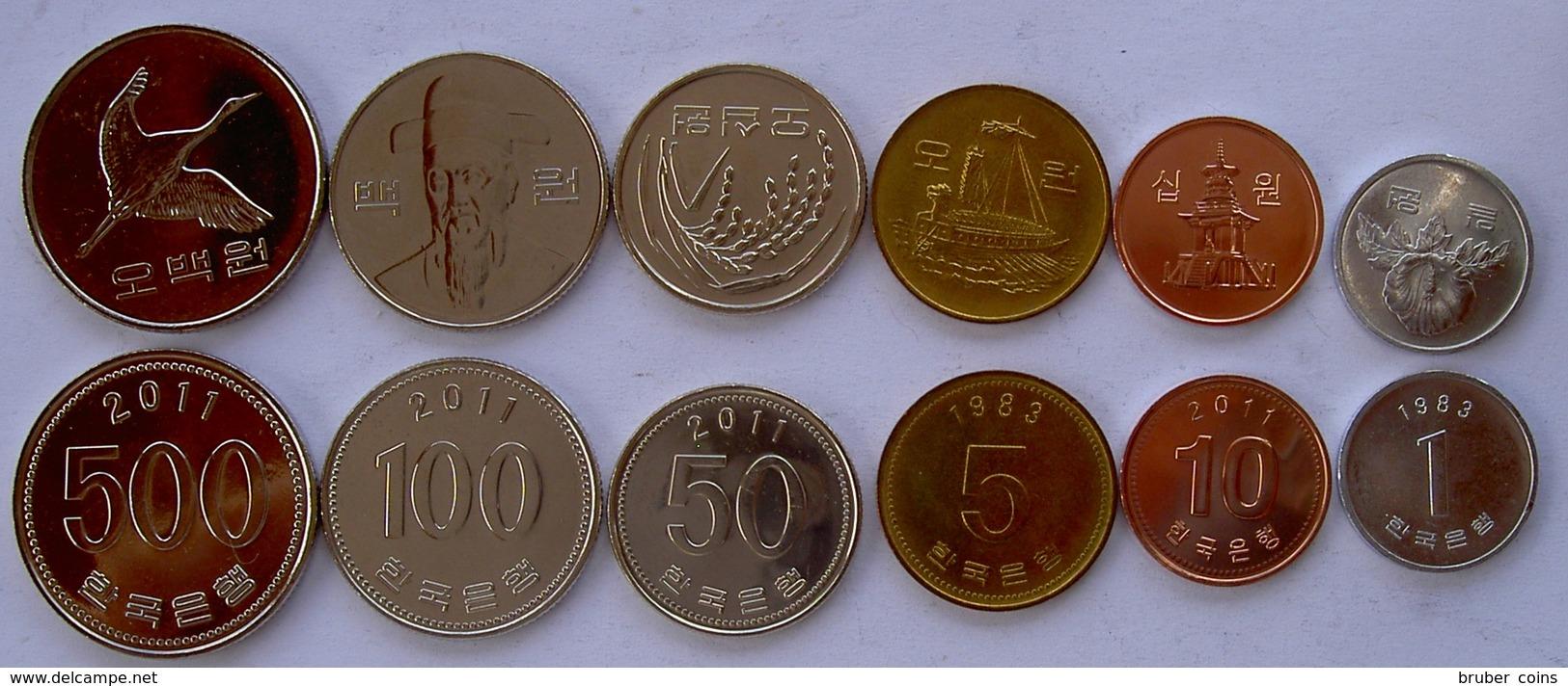 KOREA DEL SUD SERIE 6 MONETE 500-100-50-10-5-1 WON  FDC - Corea Del Norte