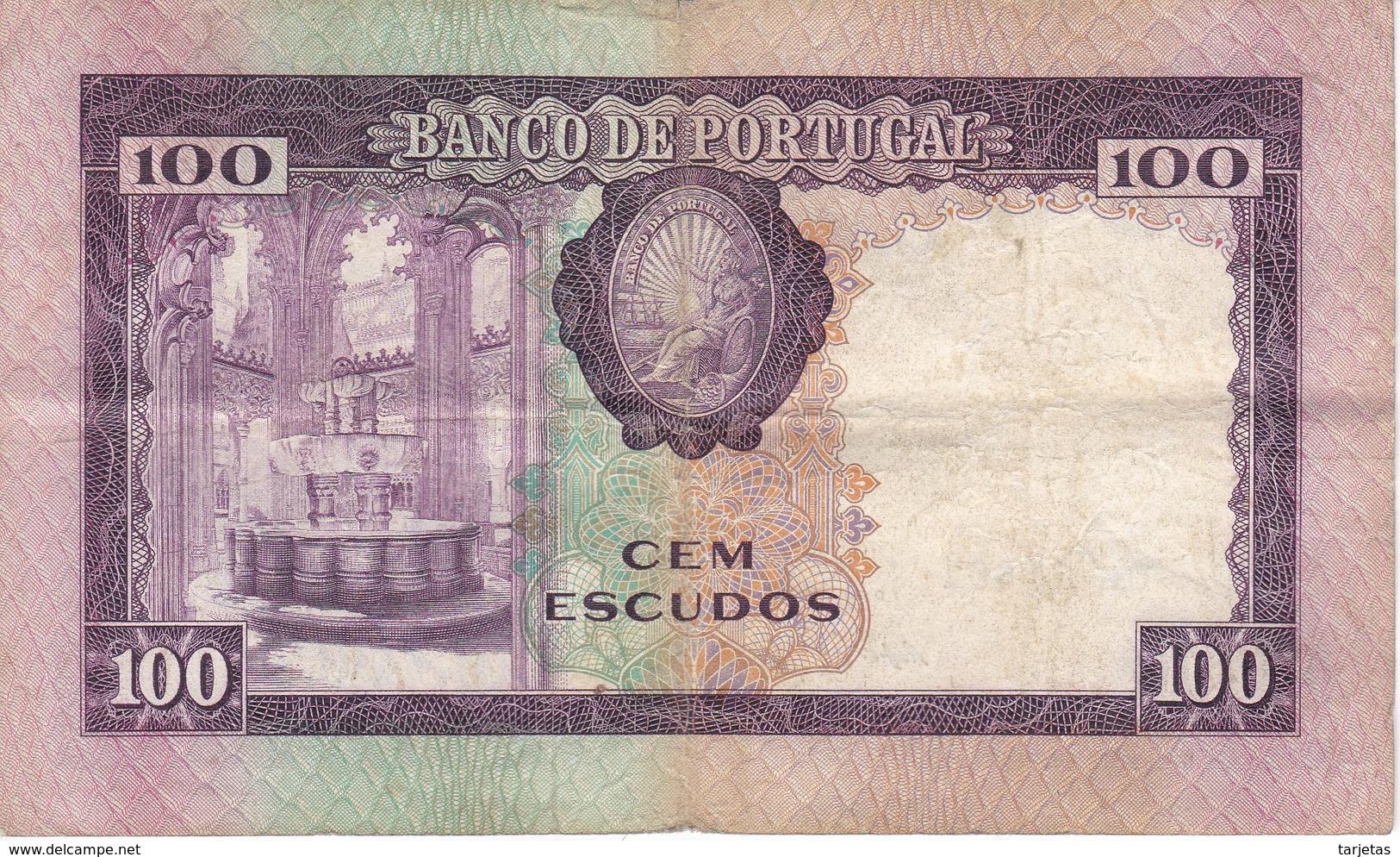 BILLETE DE PORTUGAL DE 100 ESCUDOS DEL AÑO 1961 SERIE UH   (BANKNOTE) - Portugal