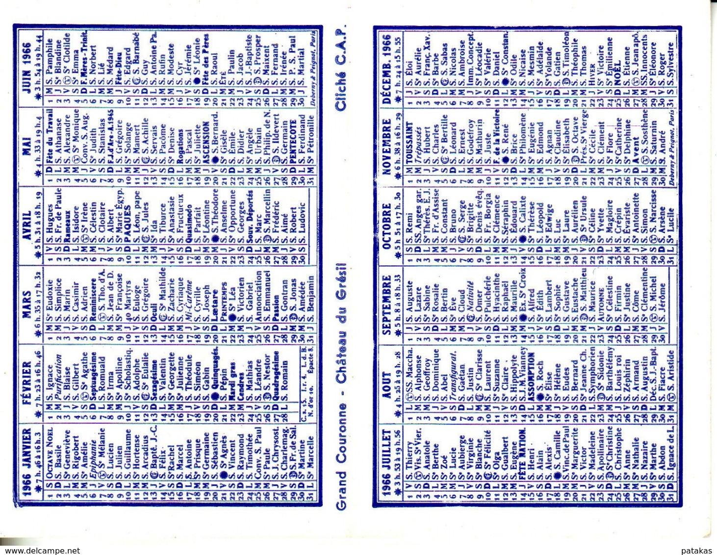 """Calendrier 1966 Publicitaire """"le Livre D'or"""" Librairie L. PIOGER Paris - Calendriers"""