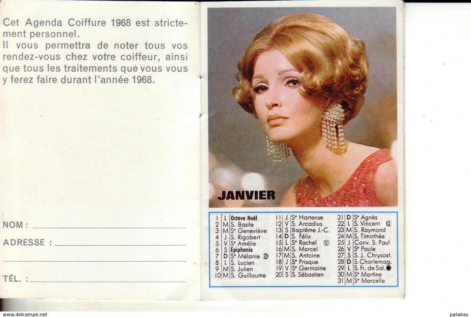Calendrier 1968 Publicitaire Salon De Coiffure DUPRAZ Paris - Calendriers
