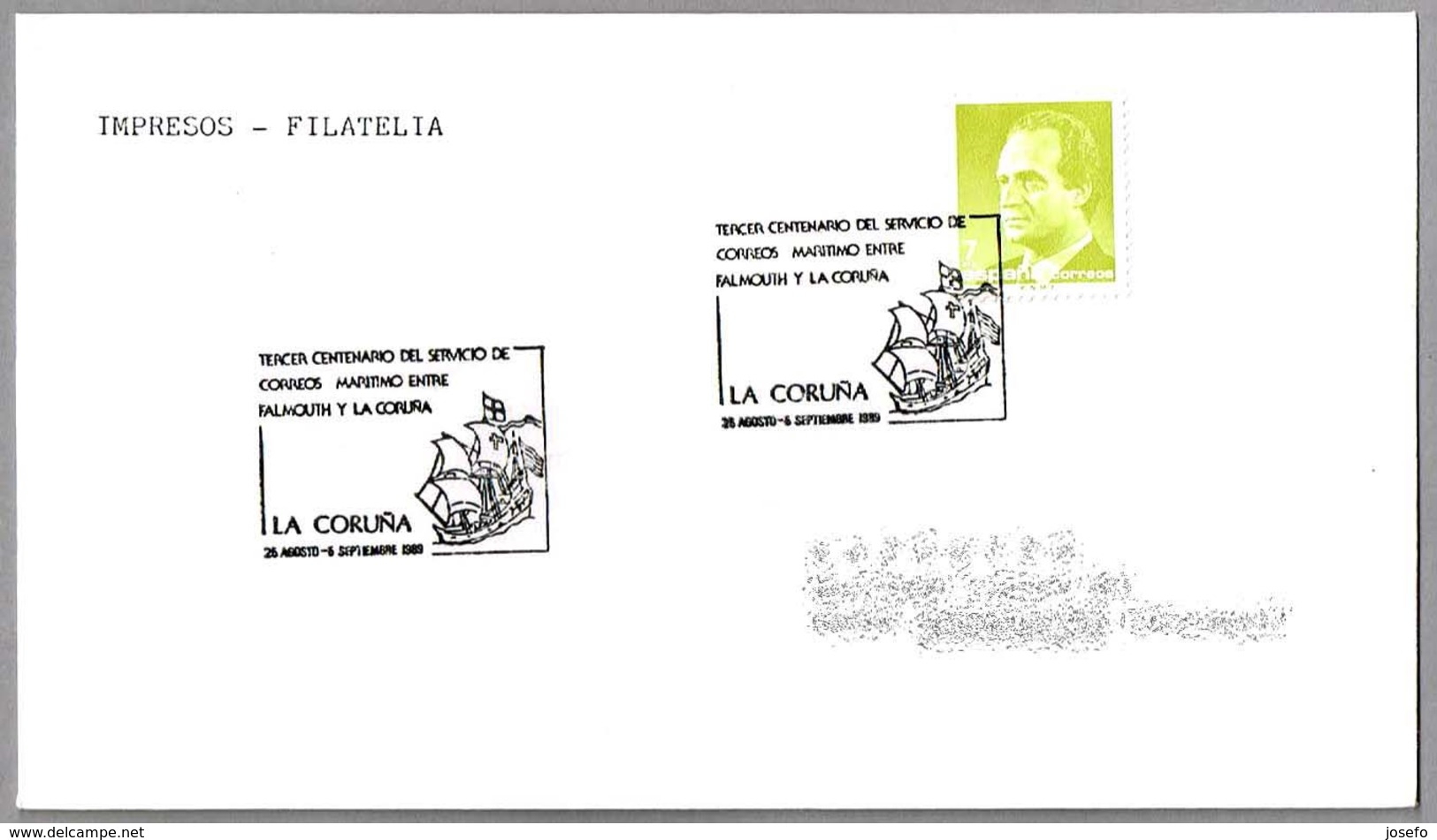 III CENT. CORREO MARITIMO FALMOUTH-LA CORUÑA - Maritime Mail. La Coruña, Galicia, 1989 - Correo Postal