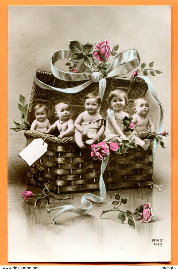 V182, 5 Bébés Dans Un Panier, REX 4723, Circulée 1912 - Neonati