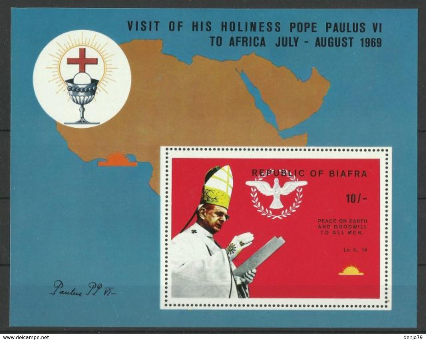 BIAFRA 1969 VISIT OF POPE MS MNH - Otros - África