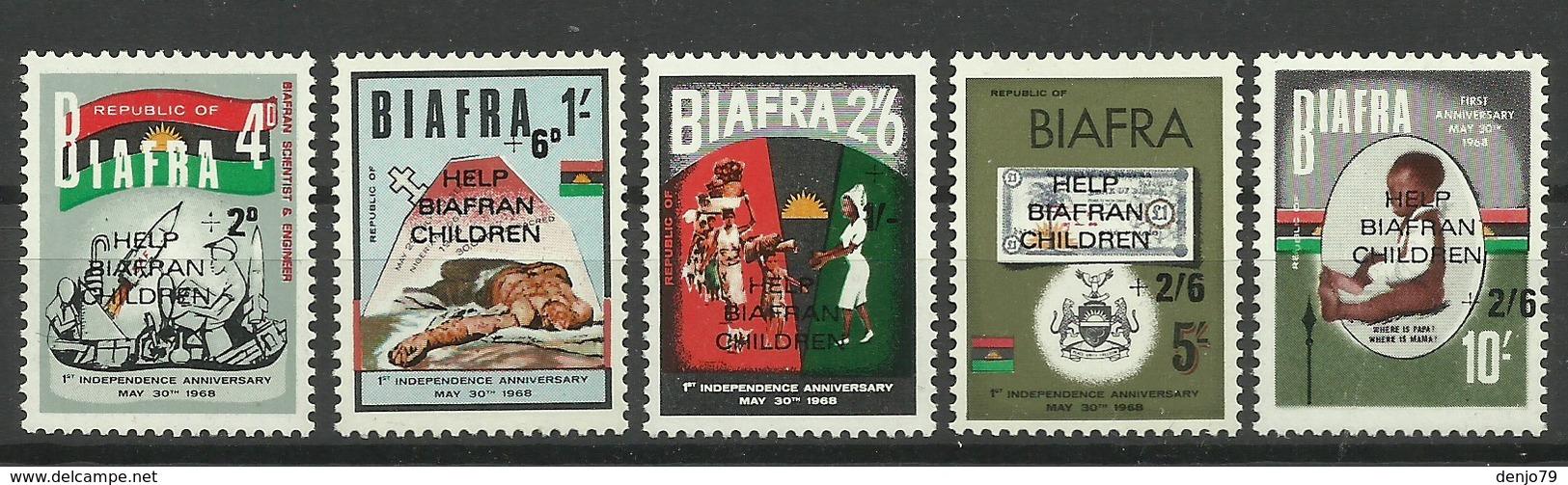 BIAFRA 1970 HELP BIAFRAN CHILDREN OVERPRINTED SET MNH - Postzegels