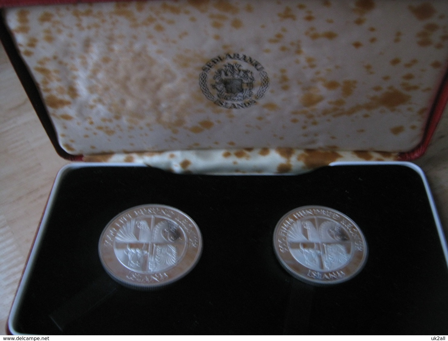 Iceland 1974 2 Coin Set  Proof Royal Mint 500 & 1000 Kronur Silver Boxed + COA - Iceland