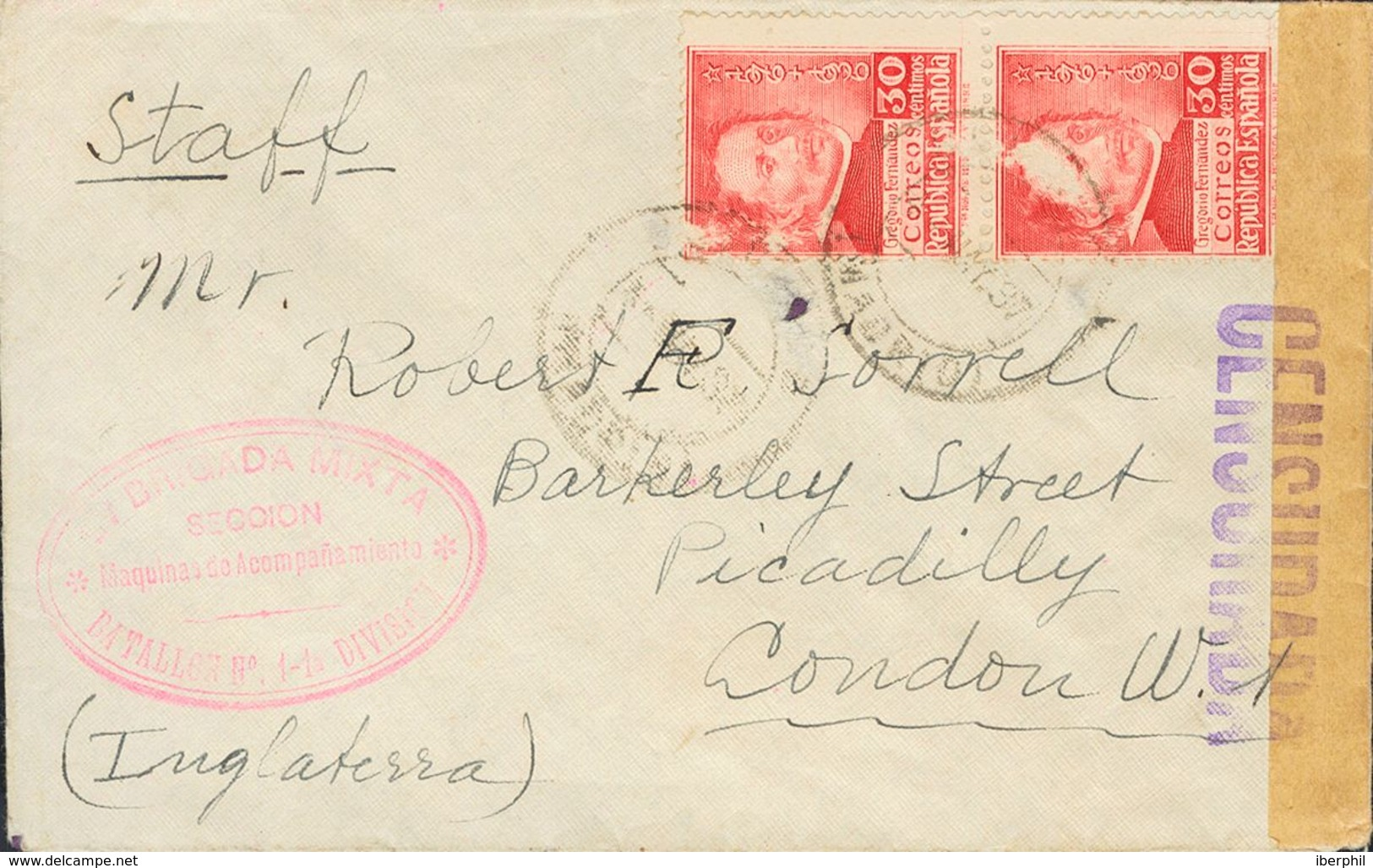 Sobre 726(2). 1937. 30 Cts, Pareja. MADRID A LONDRES (INGLATERRA) (erosiones Sin Importancia En Origen). En El Frente Ma - Spain