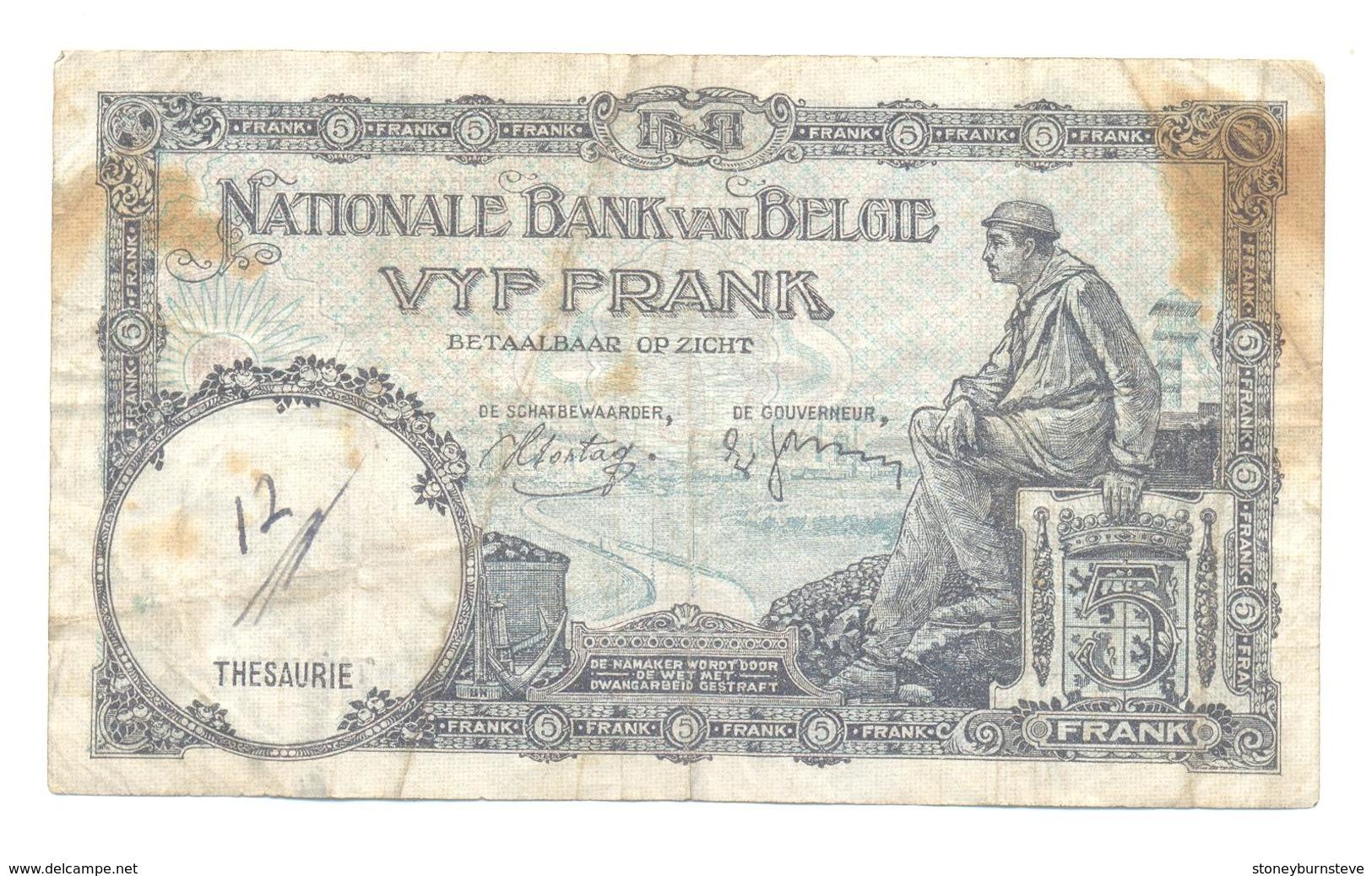 Belgium 5 Francs 23.04.38 - 5 Francs