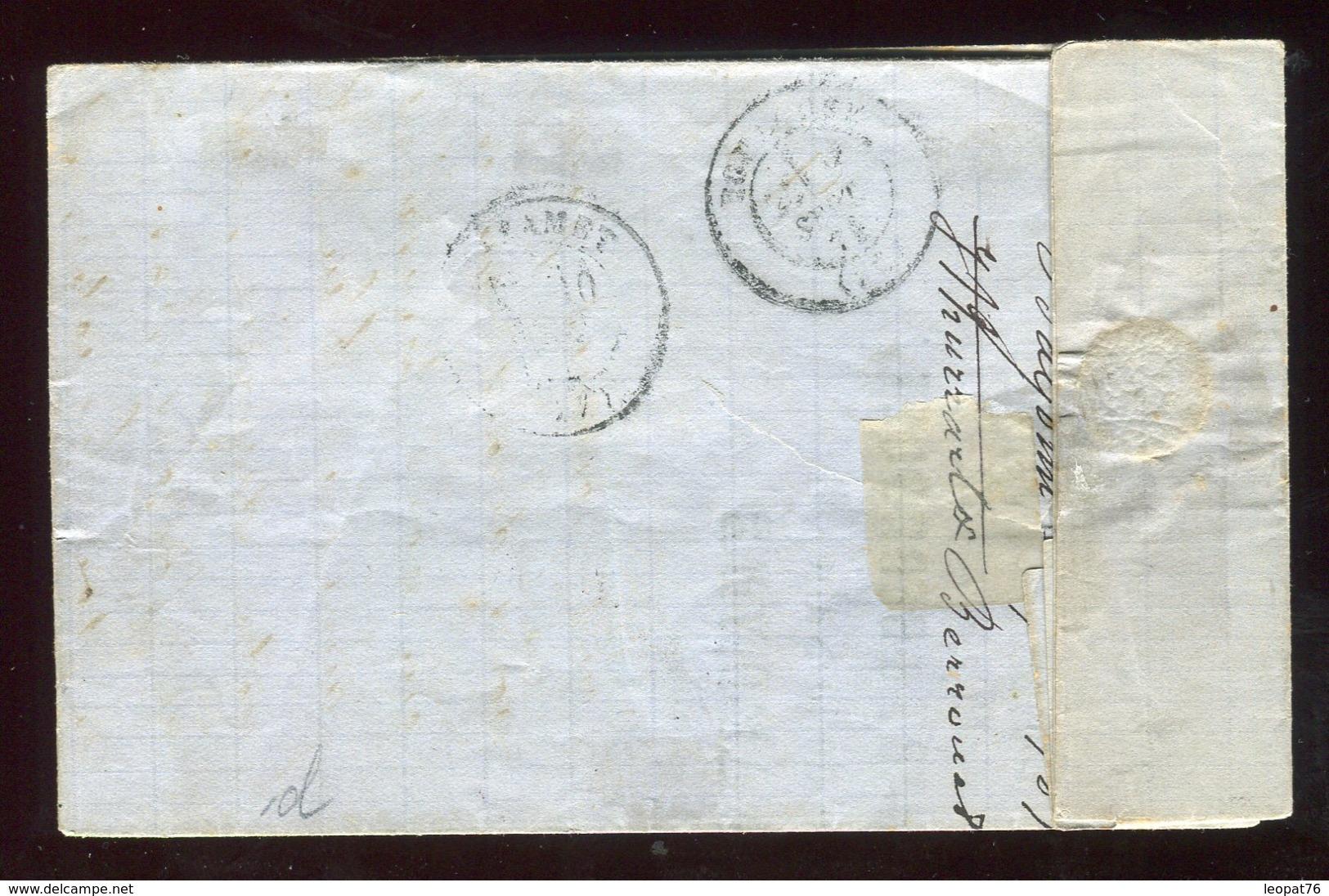 Lettre ( Avec Texte ) De Bayonne Pour Boissezon En Septembre 1871 , Affr. Bordeaux / Cérès - N318 - Marcophilie (Lettres)