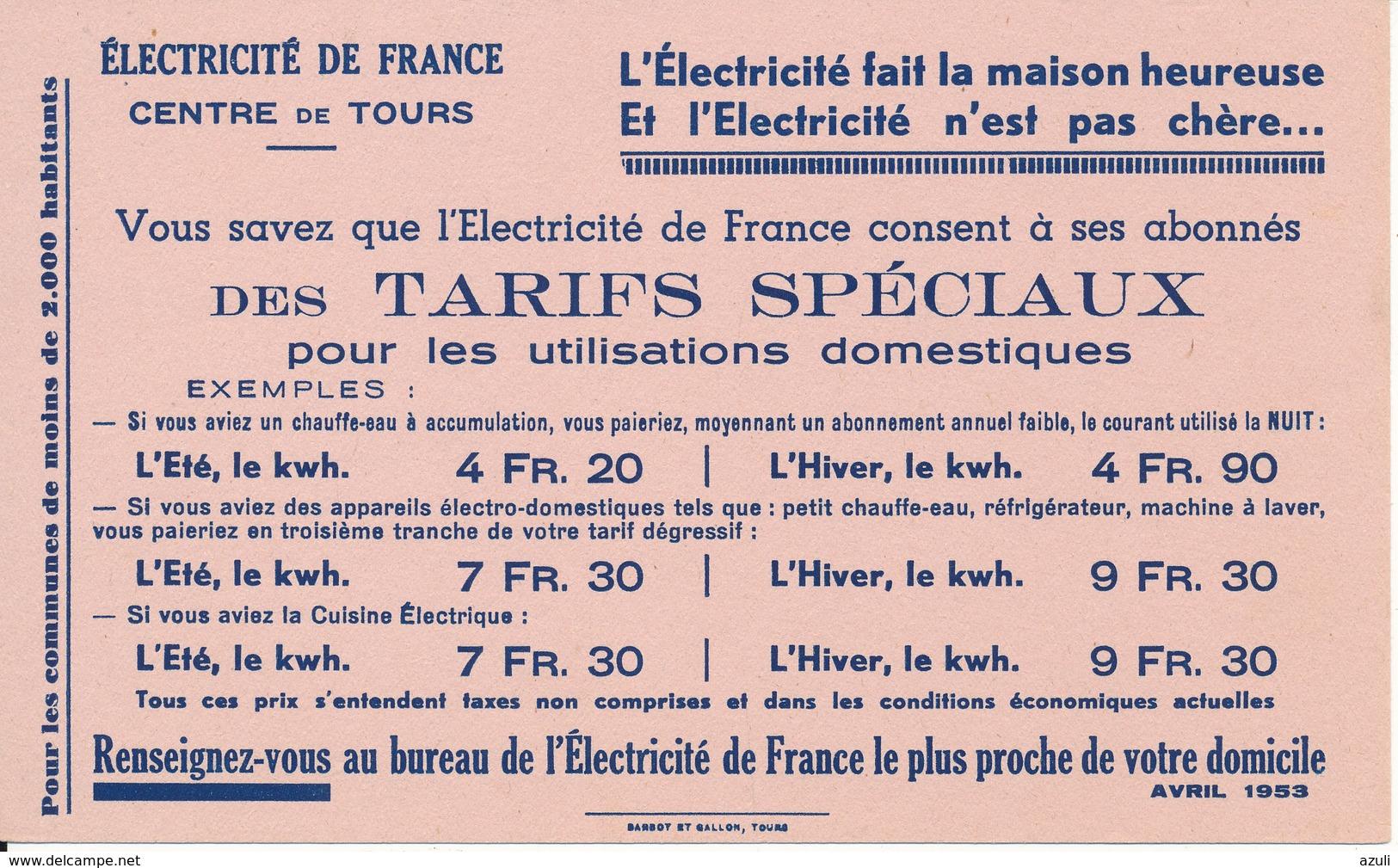 BUVARD - Electricité De France, Centre De Tours (37) - Electricité & Gaz