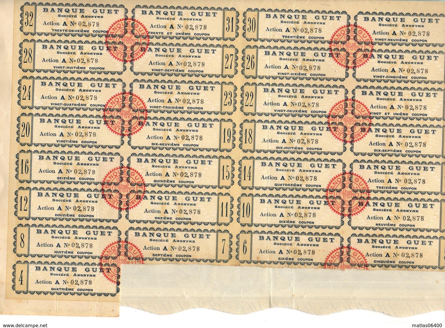 Action- 1926 -  BANQUE GUET  Bd Haussman A Paris- Action De 500 Frs ( A N°2878)  Tirage 20 000 - Illustrée - Banque & Assurance
