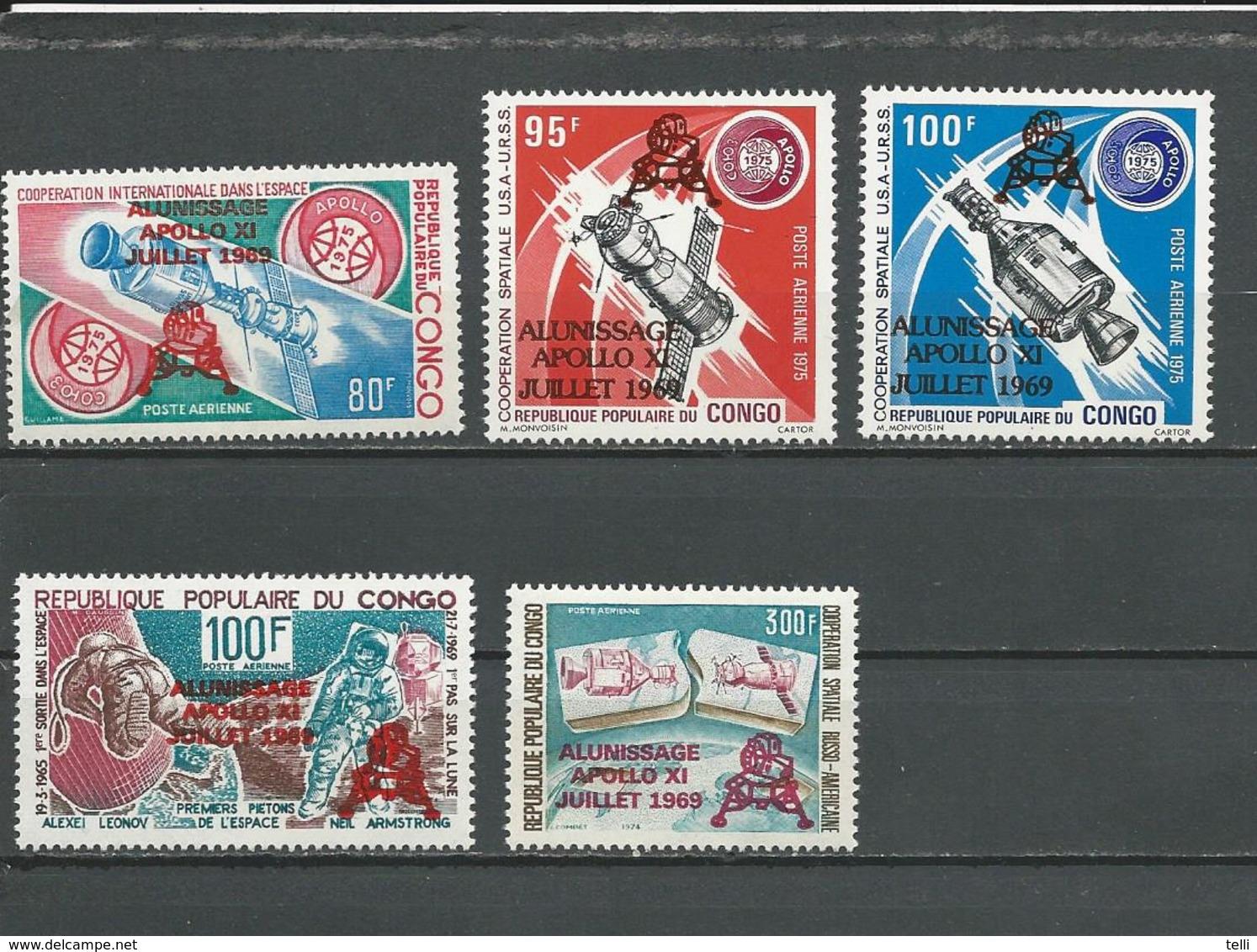 CONGO Scott C251-C255 Yvert PA249-PA253 (5) ** Cote 10,00 $ 1979 Surcharges - Neufs