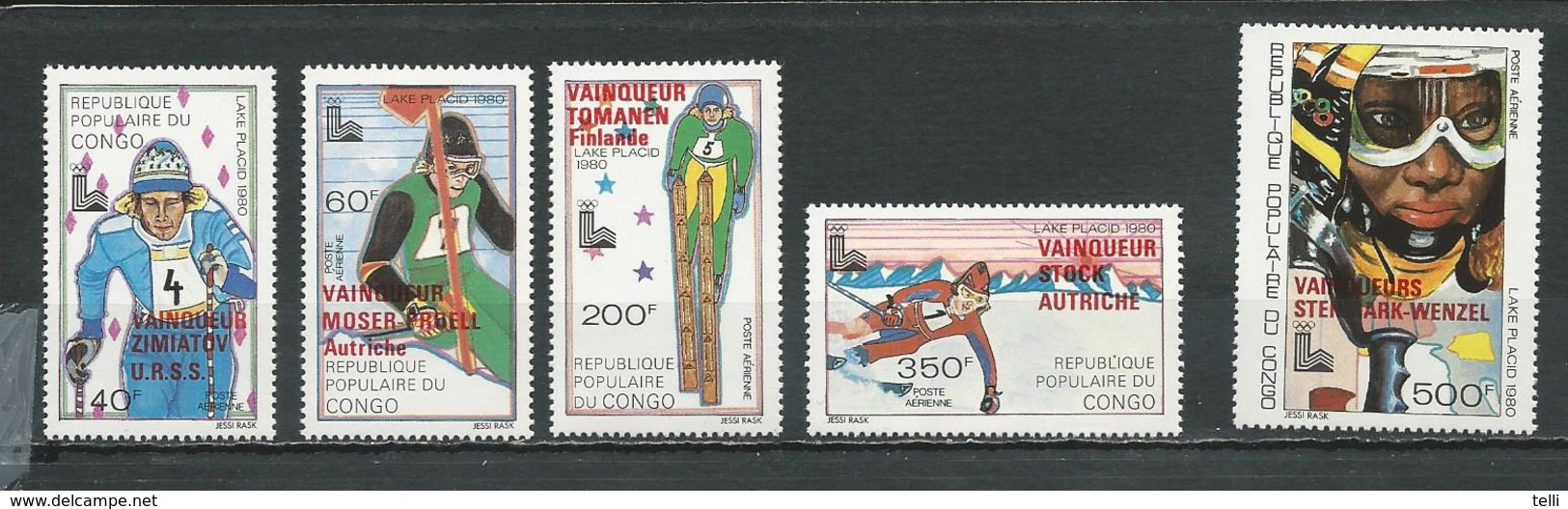 CONGO Scott C266-C270 Yvert PA264-PA268 (5) ** Cote 11,25 $ 1980 Surcharges - Neufs