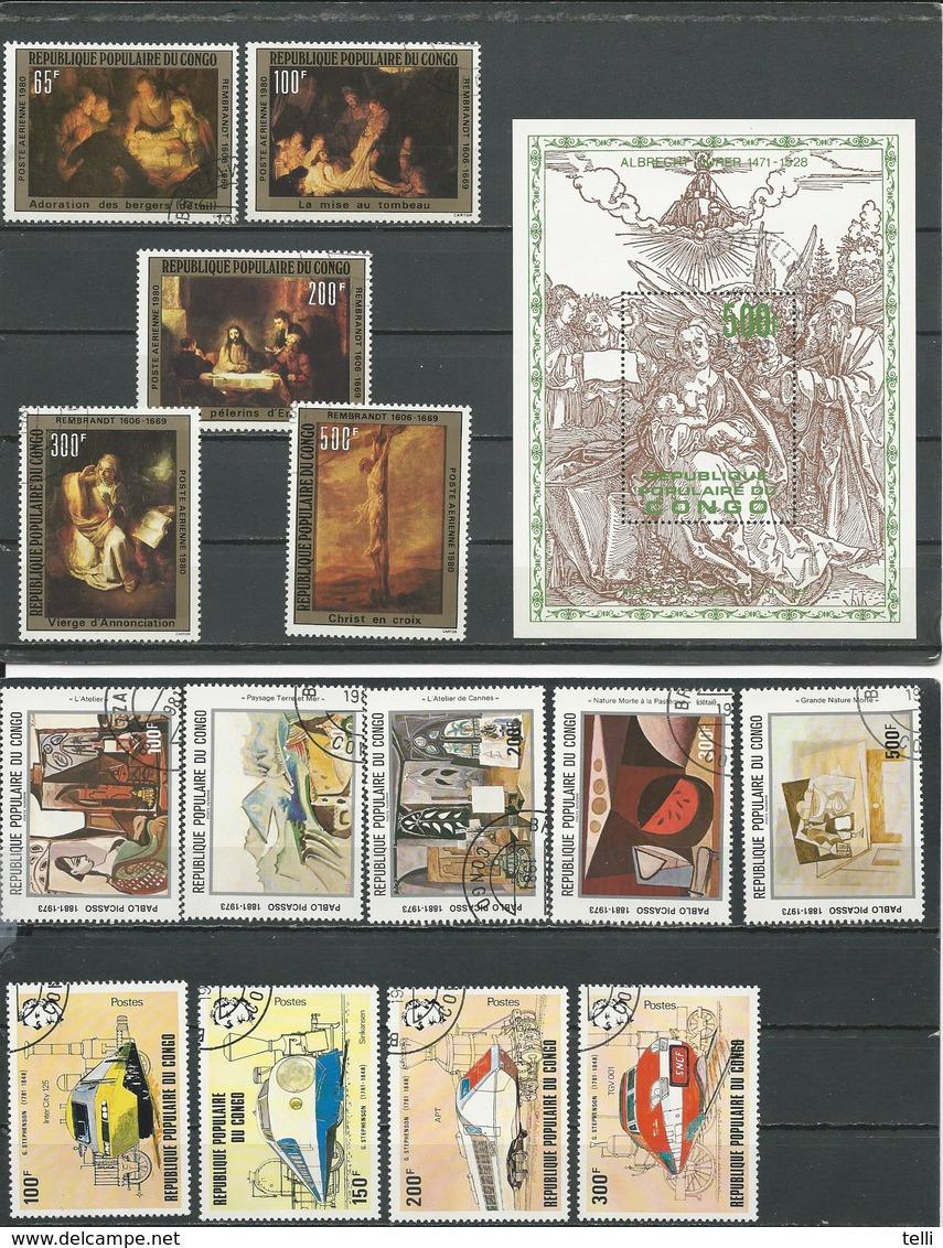 CONGO Scott 510, C282-6, C296A-E, 627-0 Yvert BF20, PA273-7, PA292-6, 656-9 (14+bloc) O Cote 14,50 $ 1979-82 - Congo - Brazzaville