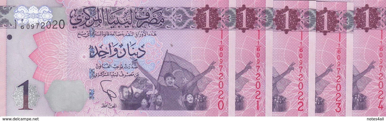 LIBYA 1 DINAR 2013 P-76 Lot X10 UNC Notes */* - Libye