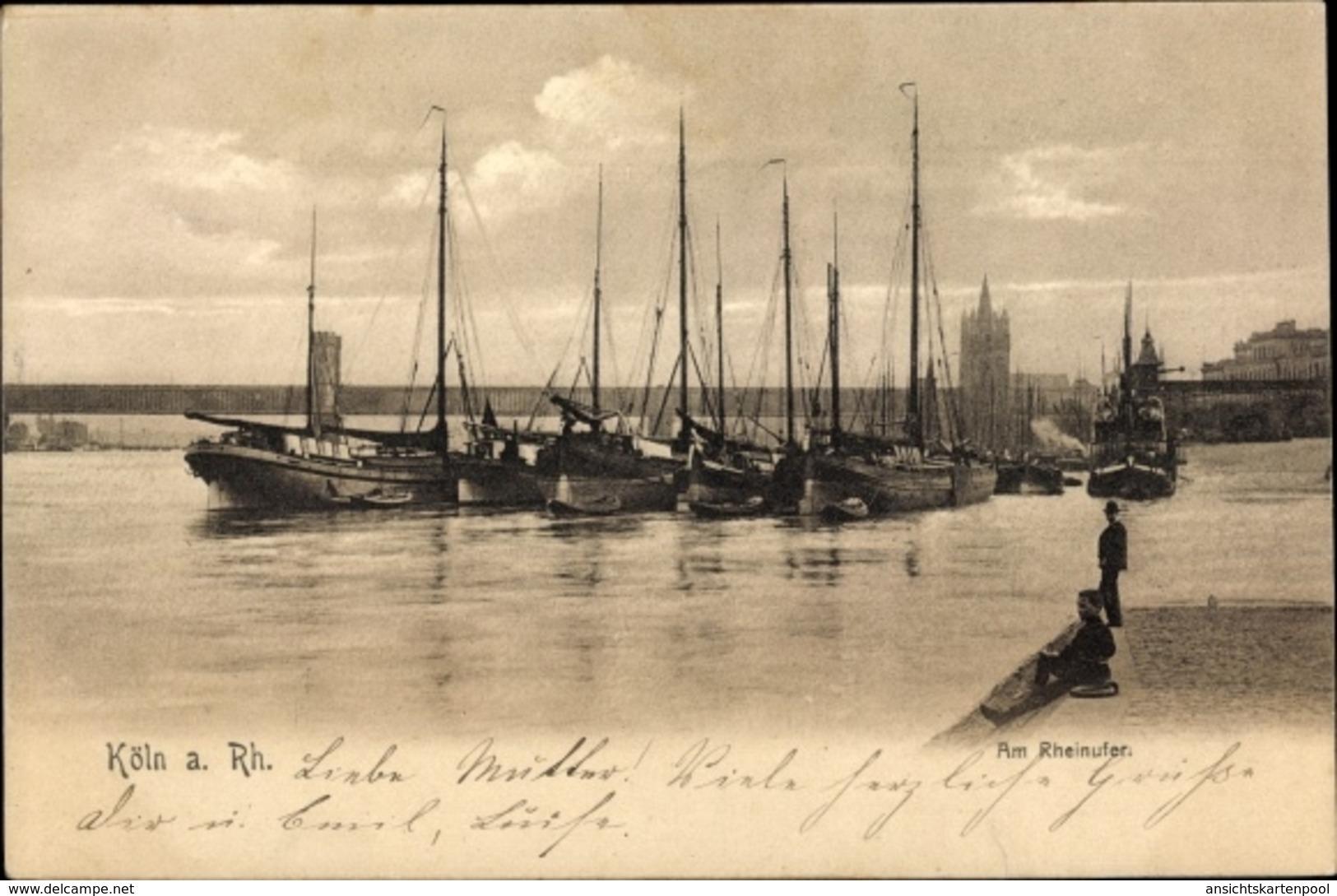 Cp Köln Am Rhein In Nordrhein Westfalen, Partie Am Rheinufer, Segelschiffe - Allemagne