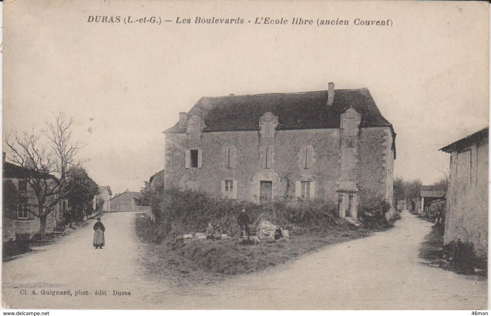 47.Duras.Les Boilevards.L'Ecole Libre (ancien Couvent). - Autres Communes