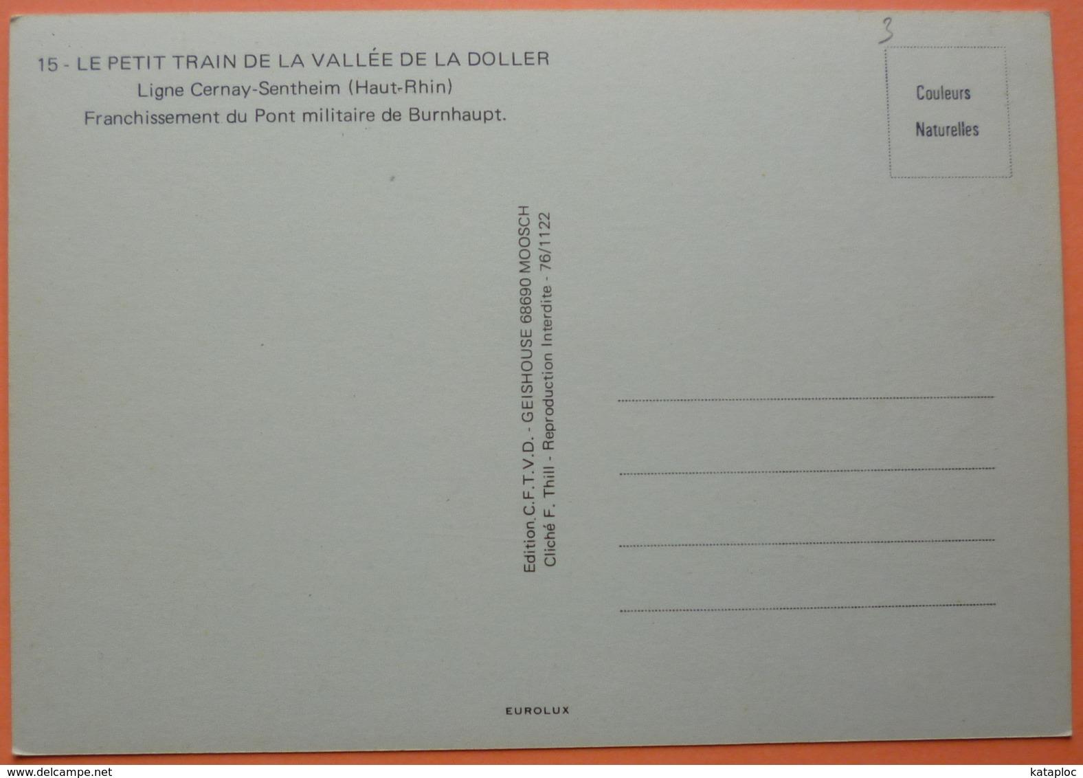CARTE LOCOMOTIVE - PETIT TRAIN DE LA VALLEE DE LA DOLLER - LIGNE CERNAY SENTHEIM - SCANS RECTO VERSO - Trains