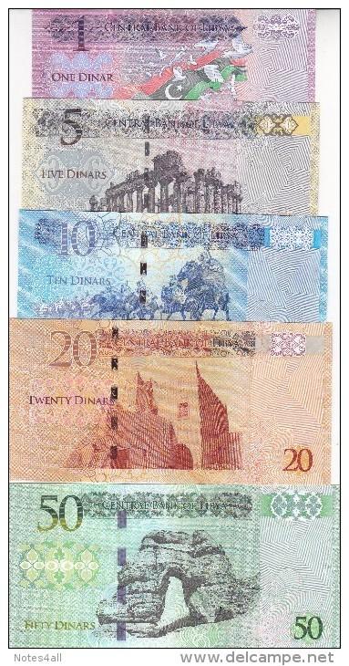 LIBYA 1 5 10 20 50 DINAR 2013 2015 P-76 79 80 81 82  UNC SET */* - Libye