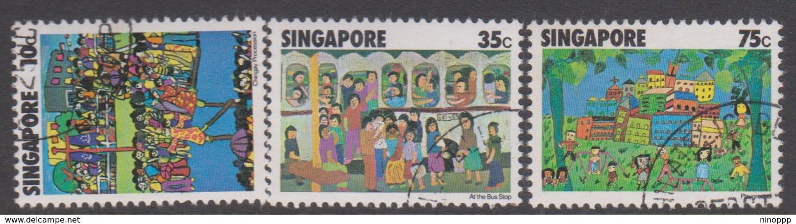 Singapore 315-317 1977 Children's Art, Used - Singapore (1959-...)