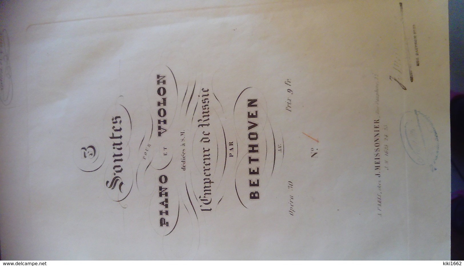PARTITION DE TROIS SONATES POUR PIANO ET VIOLON PAR BEETHOVEN OPÉRA 30 - Opern