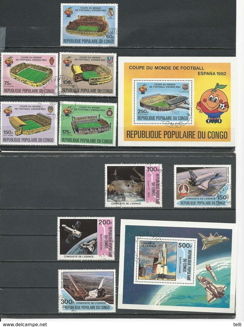CONGO Scott C276-C280 C281, 580-583 584 Yvert PA280-PA284 BF24, 616-619 BF27 (9+2blocs) O Cote 7,70 $ 1980-1 - Congo - Brazzaville