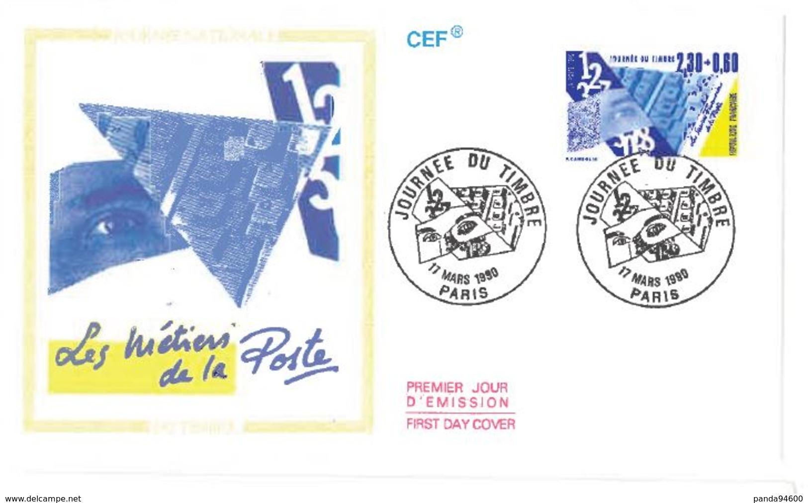 FDC Journée Du Timbre : Les Métiers De La Poste (75 Paris 17/03/1990) - FDC