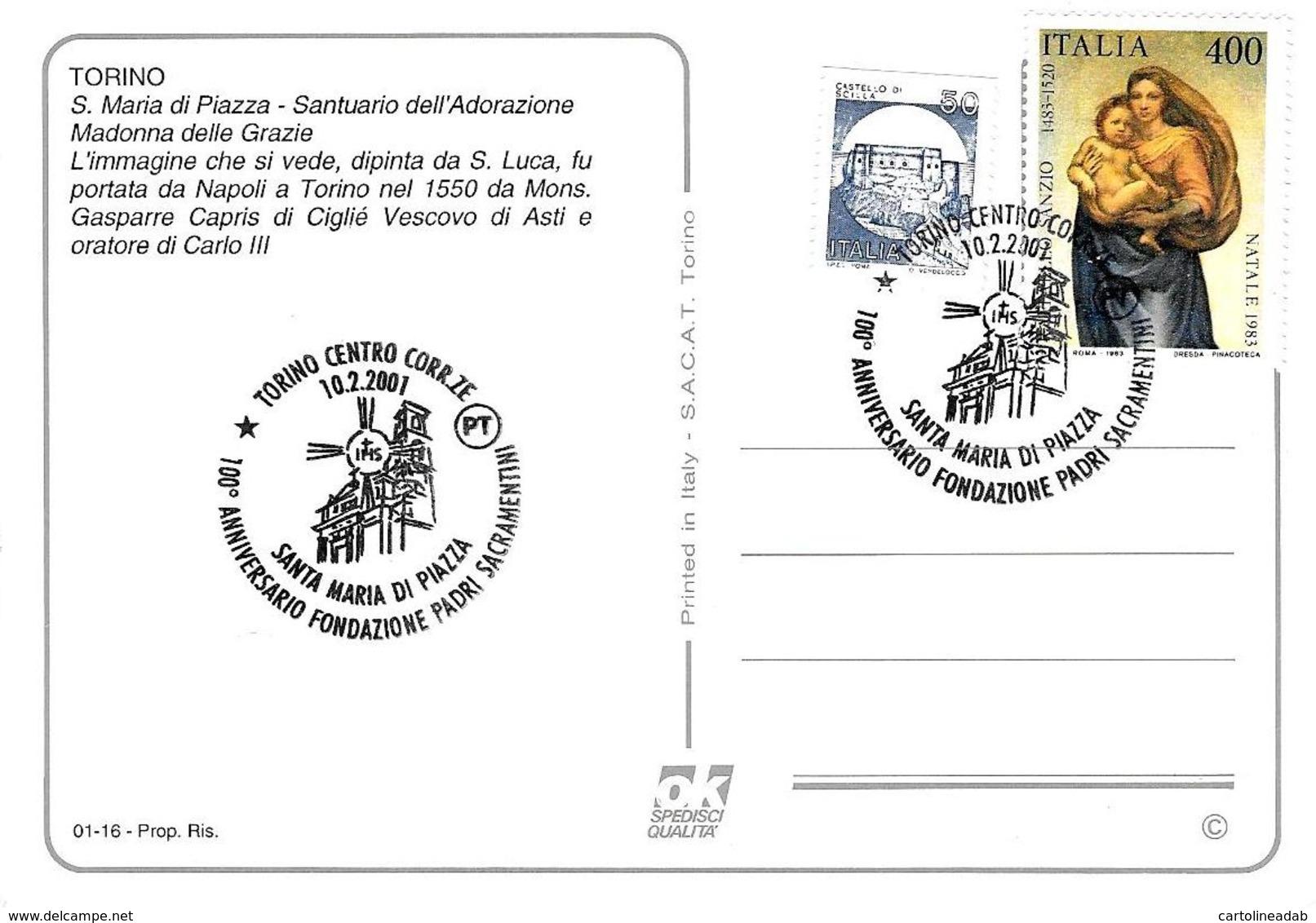 [MD2388] CPM - TORINO - S. MARIA DI PIAZZA SANTUARIO DELL'ADORAZIONE MADONNA DELLE GRAZIE - CON ANNULLO 10.2.2001 - NV - Churches
