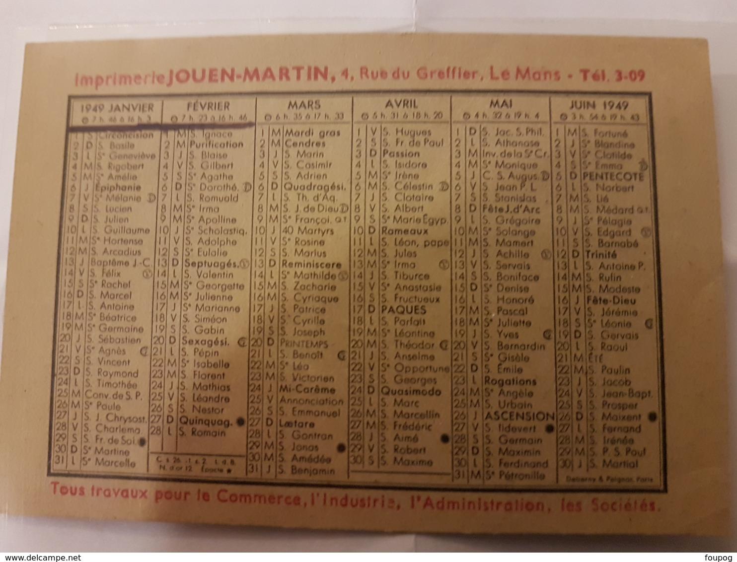 CALENDRIER 1949 IMPRIMERIE JOUEN MARTIN PETIT FORMAT - Calendriers