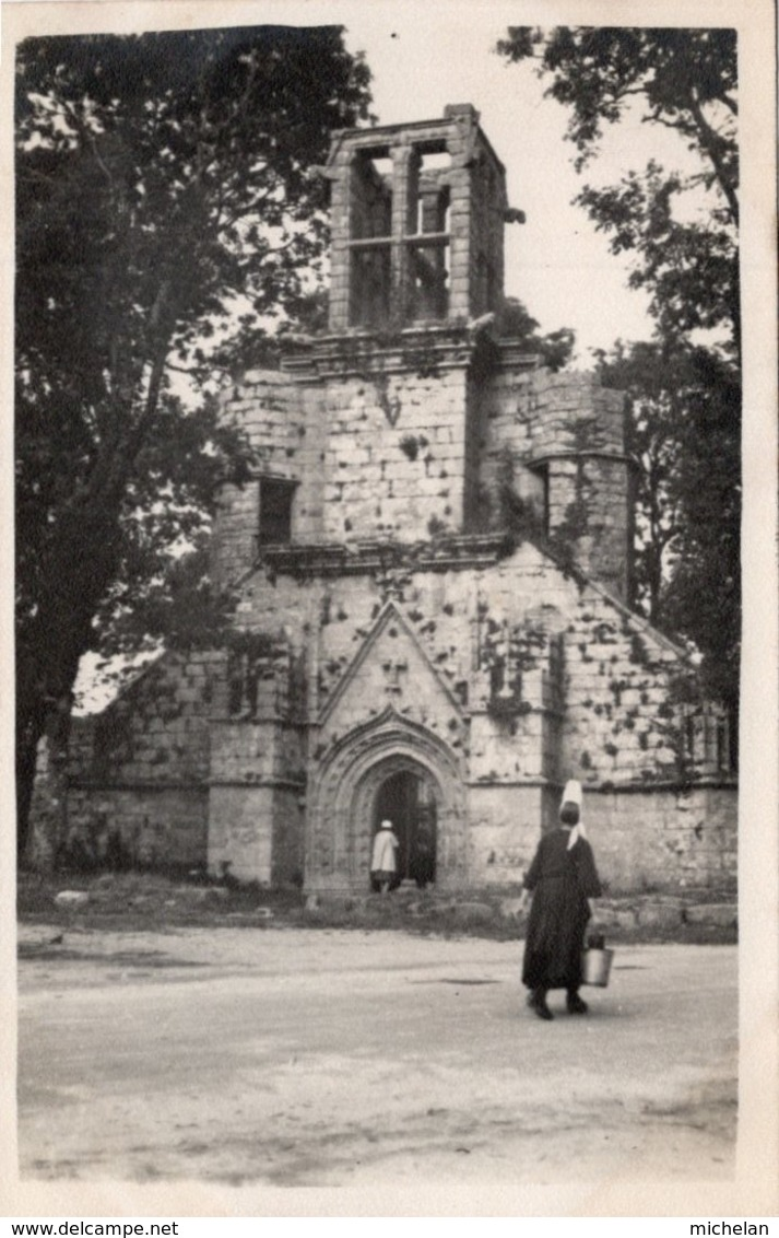 CPA PHOTO MATE   29  PONT LABBE---EGLISE DE LAMBOURG---TRES RARE VOIR UNIQUE ? - Pont L'Abbe