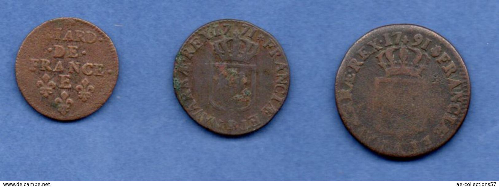 Royales  -  Lot De 3 Monnaies - 987-1789 Monnaies Royales
