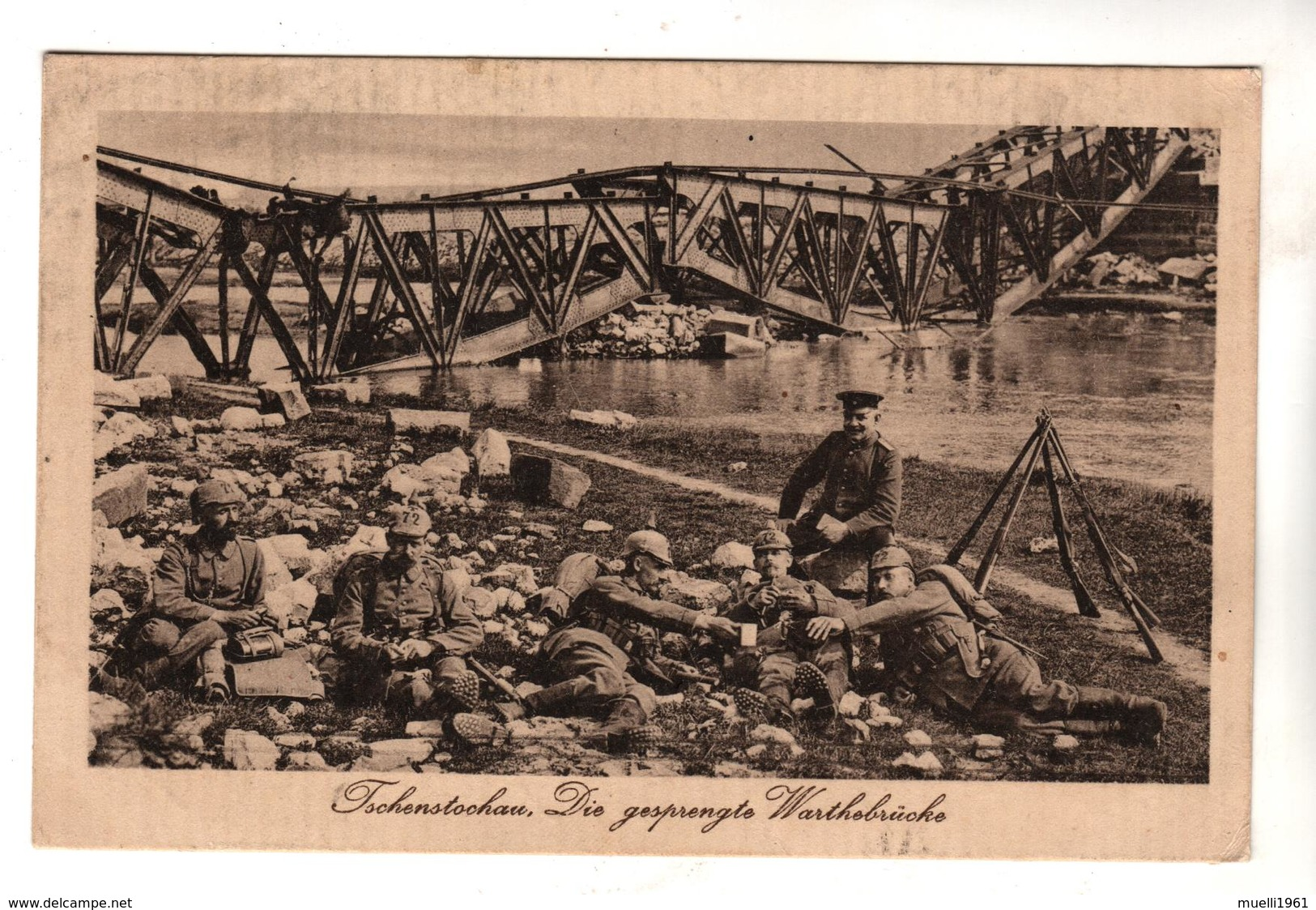 + 1816, Feldpost, Czenstochau, Czestochowa, Polen, Gesprengte Brücke - Weltkrieg 1914-18