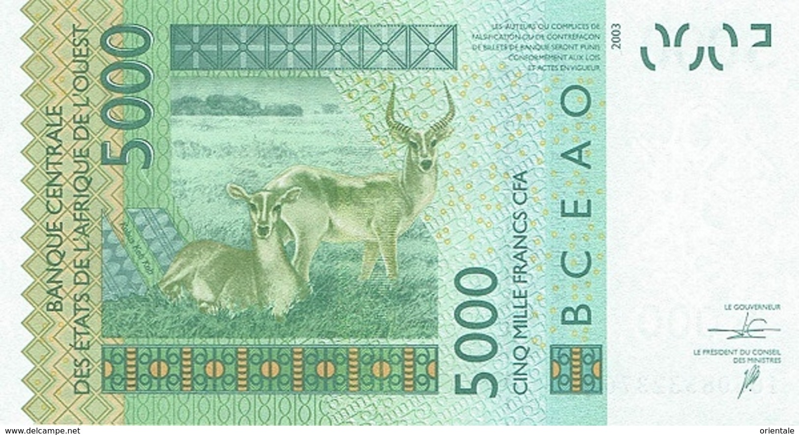WEST AFRICAN STATES P. 717Ko 5000 F 2016 UNC - Sénégal
