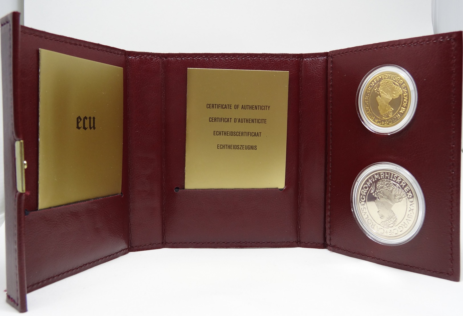 1988 Belgian ECU Coffret En Cuir - 50 ECU Or & 5 ECU Argent - Belgique
