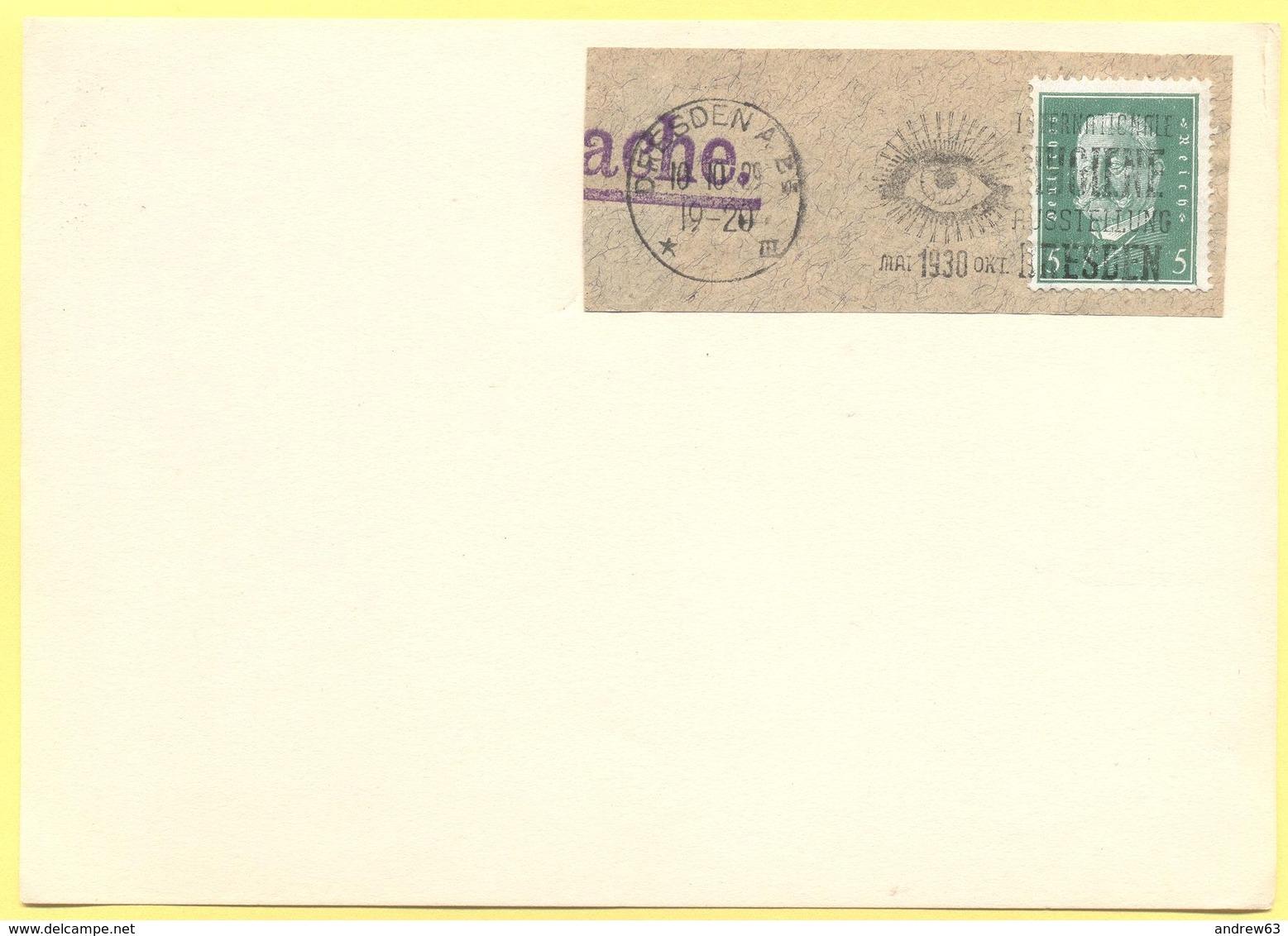 Deutsches Reich - 1929 - 5 + Special Cancel Dresden Internationale Hygiene Ausstellung 1930 - Fragment On Paper - Deutschland