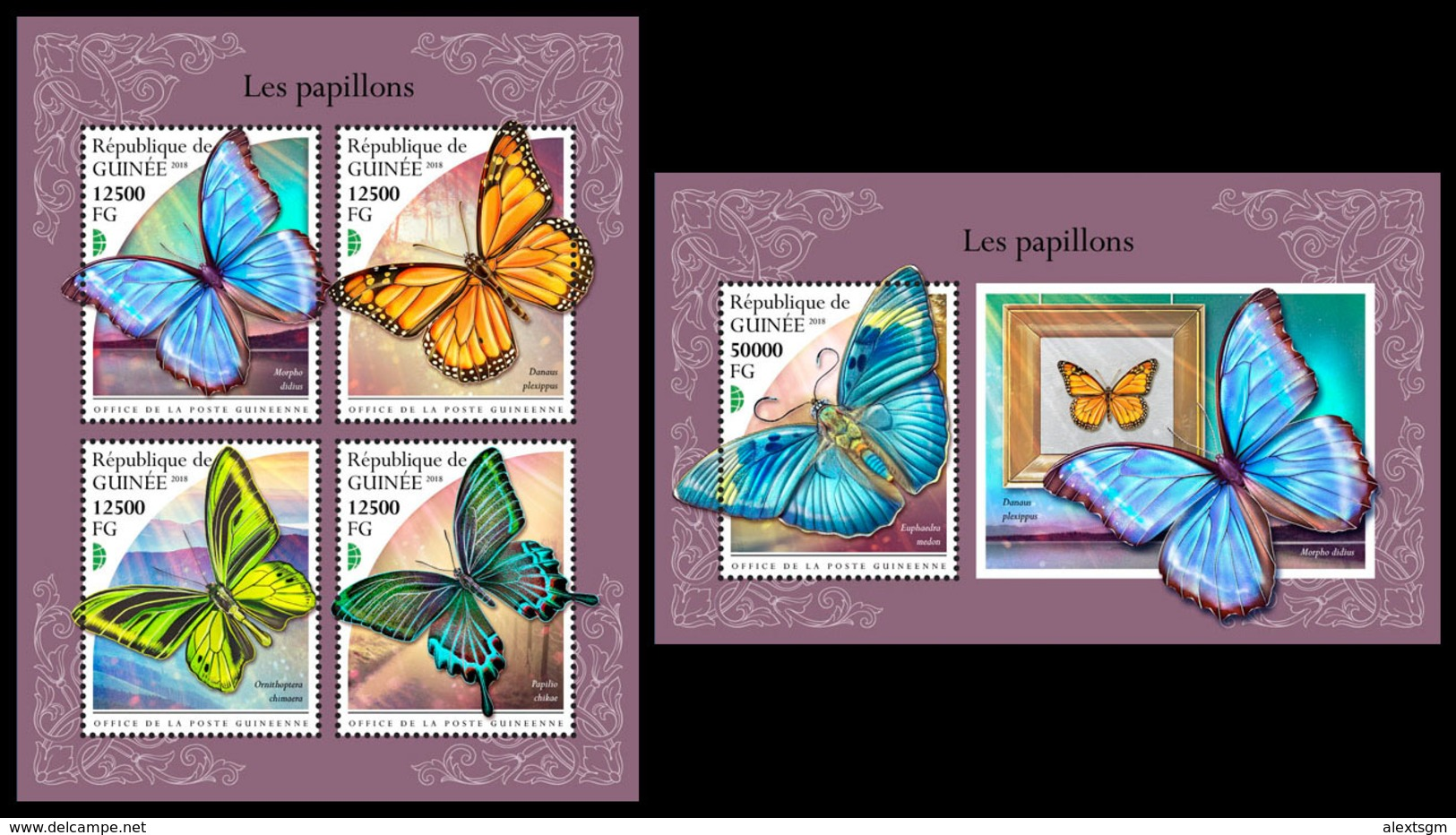 GUINEA 2018 - Butterflies. M/S + S/S. Official Issue - Guinea (1958-...)