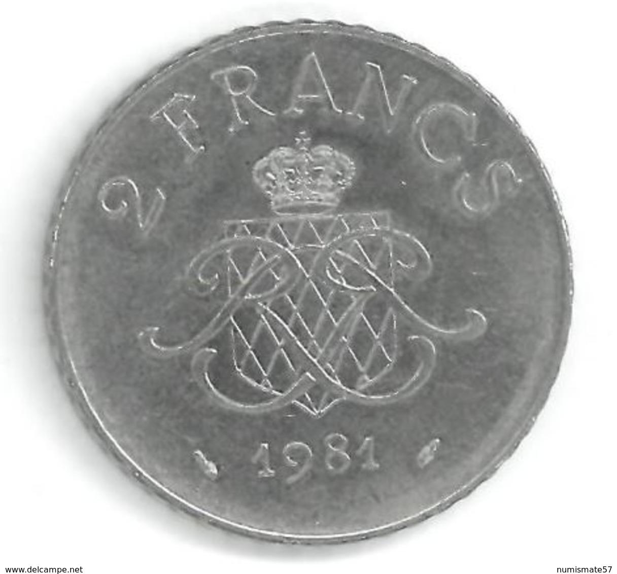 MONACO - 2 FRANCS 1981 - RAINIER III PRINCE DE MONACO - 1960-2001 Nouveaux Francs