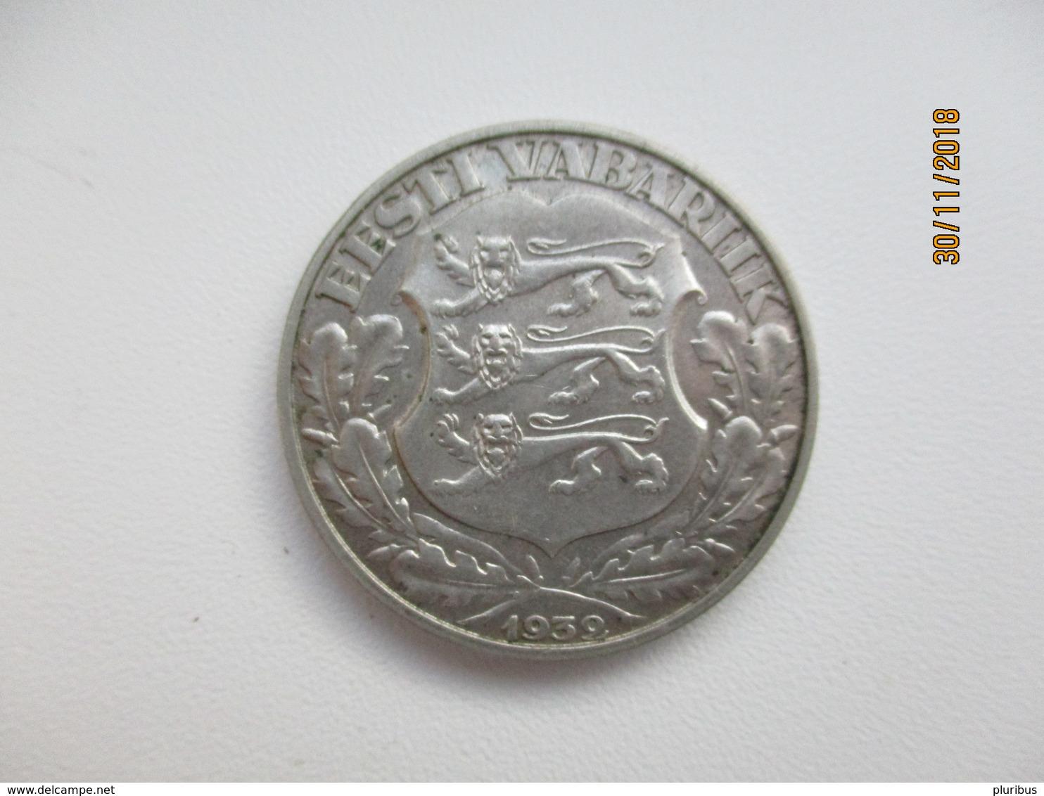 1932 ESTONIA 2 KROONI SILVER , TARTU UNIVERSITY 1632-1932       , M - Estonie