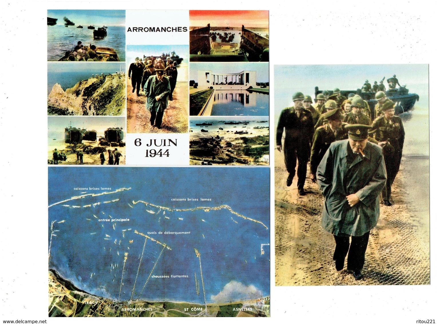 Lot 3 Cpm Militaria - ARROMANCHES Juin 1944 DÉBARQUEMENT Général Montgommery Accueille Churchill  - Soldats - Guerre 1939-45