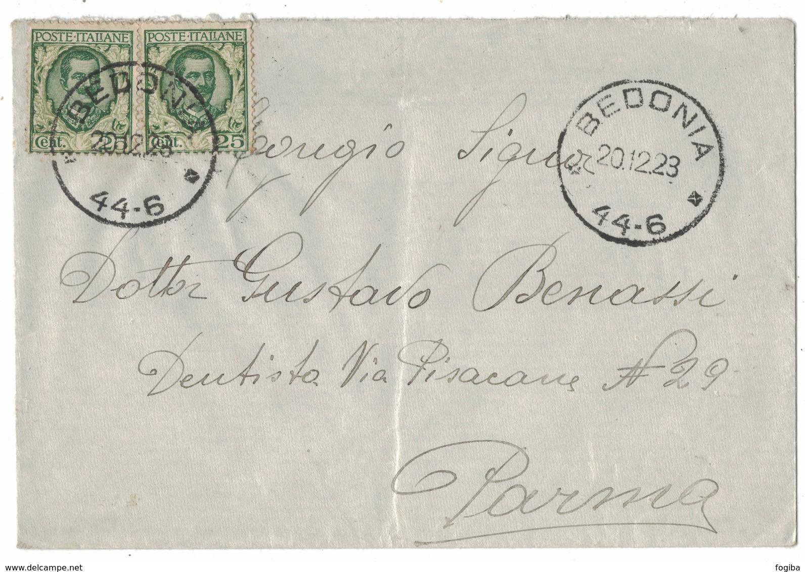 ZN68   Regno 1923 Coppia Floreale 25c Su Busta Con Annullo Frazionario Bedonia X Parma - Storia Postale