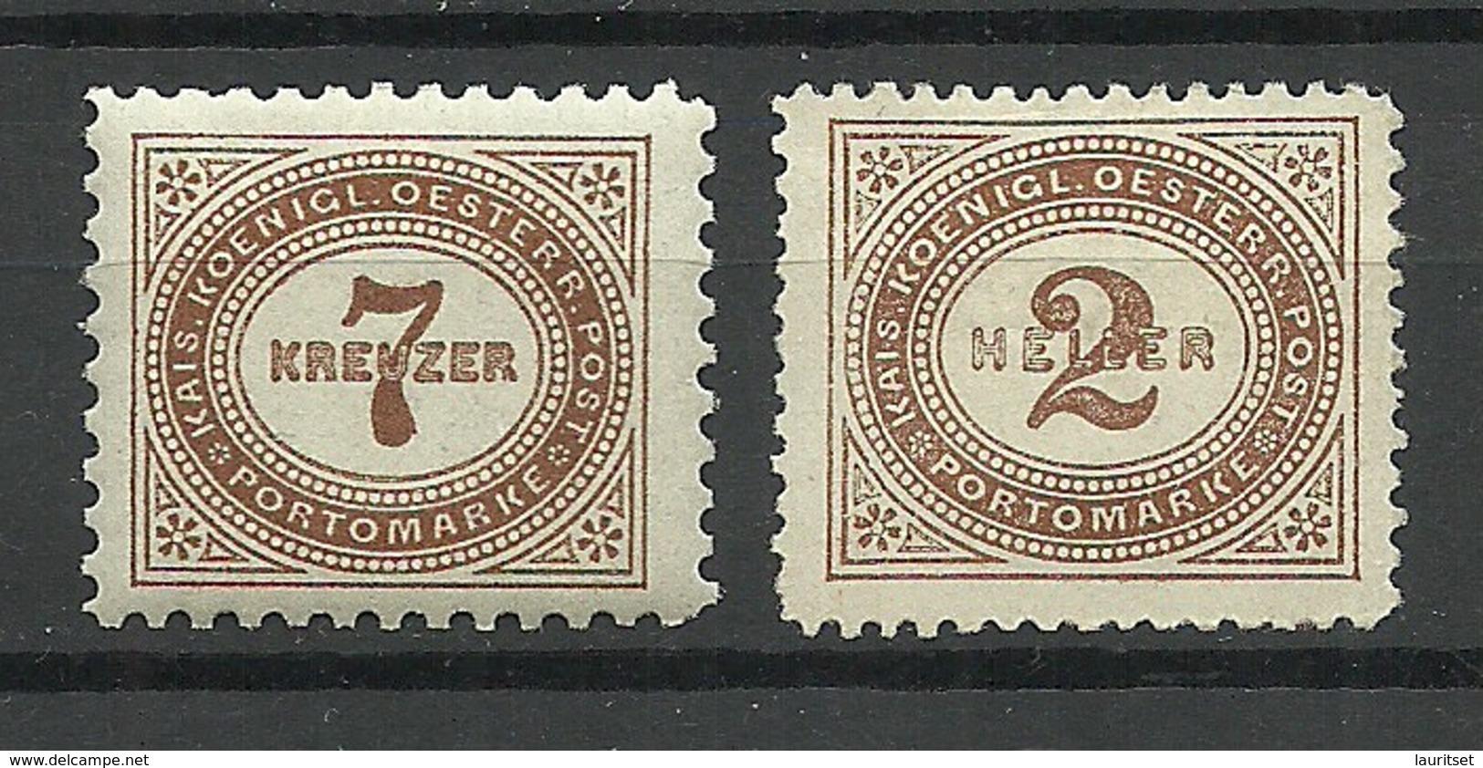 Österreich AUSTRIA 1895/1900 Porto Postage Due, 2 Stamps, Unused */(*) - Portomarken
