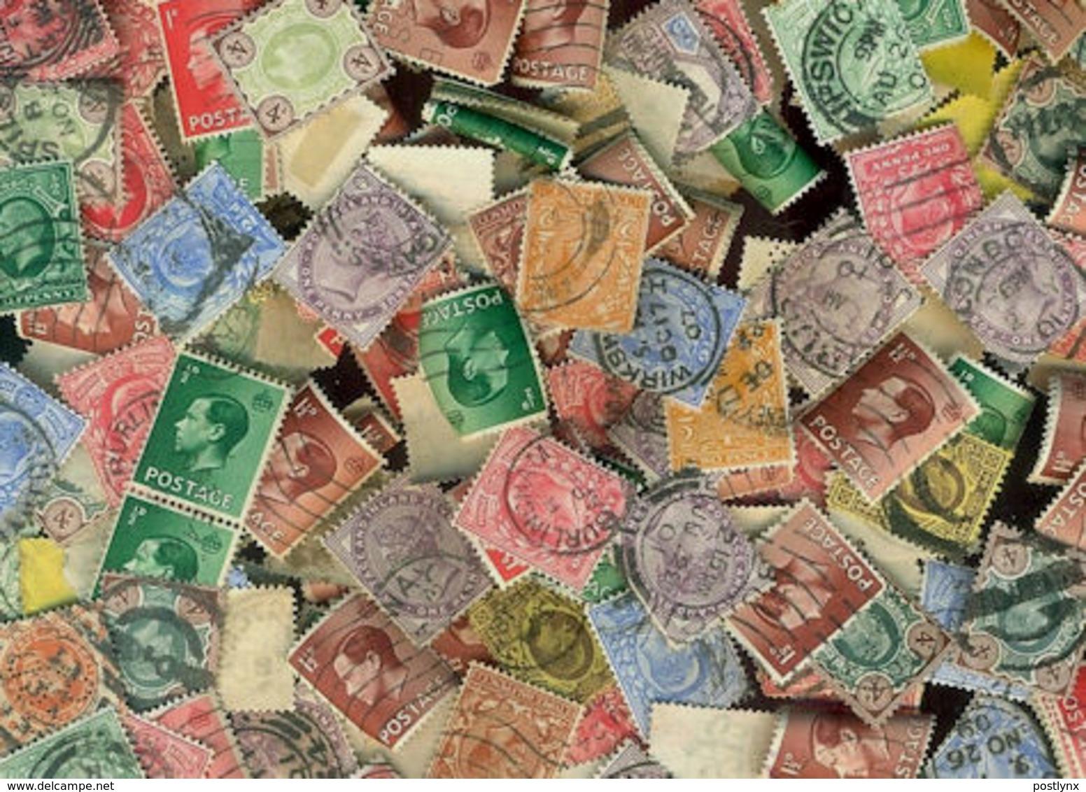 BID Great Britain KILOWARE Pre-QII LazyBag OFF PAPER 200g (7oz) Ca 2.200 Stamps GB - Timbres