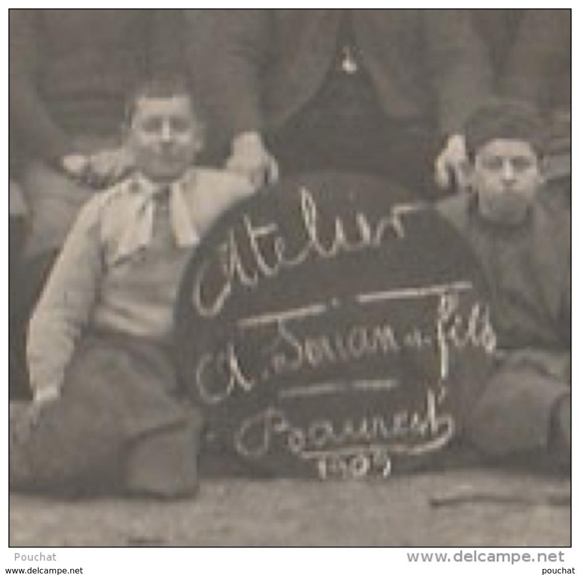 S25-33) BAURECH (GIRONDE) CARTE PHOTO  ATELIER SOUAN & FILS  EN 1909 - FABRIQUE DE BARRIQUES ET DE TONNEAUX - 3 SCANS - France