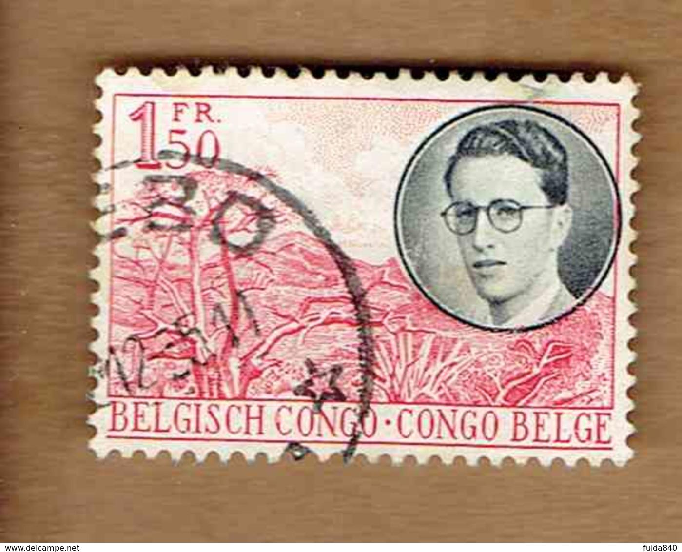 Congo Belge.(COB-OBP)  1955 - N°329    *VOYAGE ROYAL AU CONGO*   1,50F   Oblitéré - Congo Belge