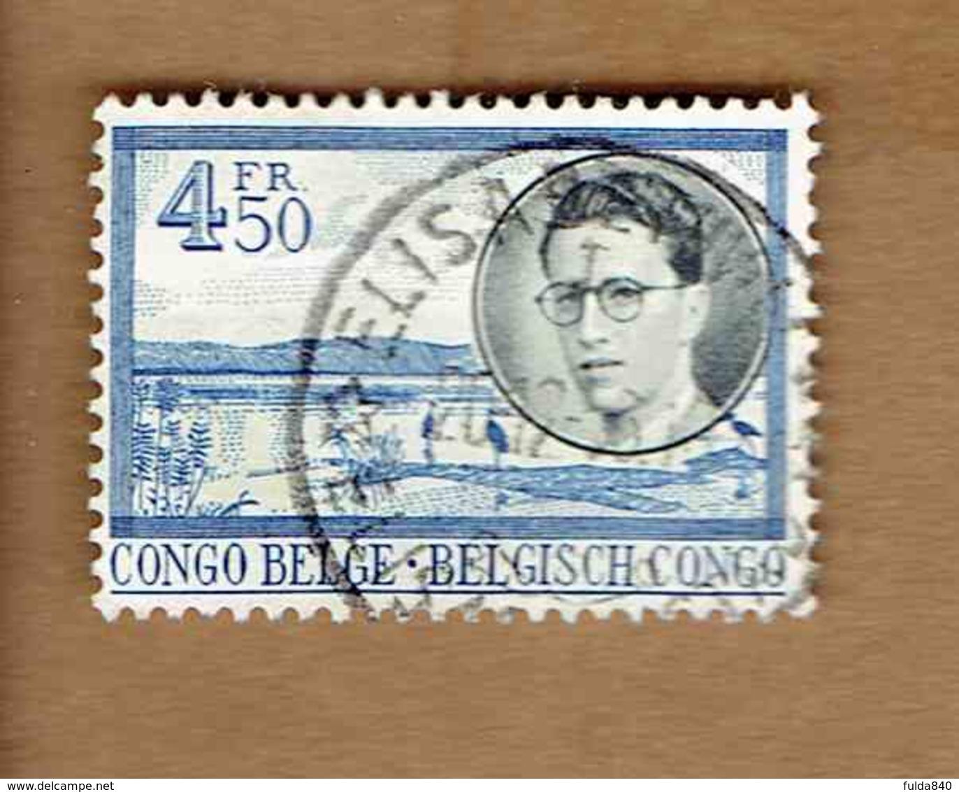 Congo Belge.(COB-OBP)  1955 - N°335    *VOYAGE ROYAL AU CONGO*   4,50F   Oblitéré ELISABETHVILLE - 1947-60: Oblitérés